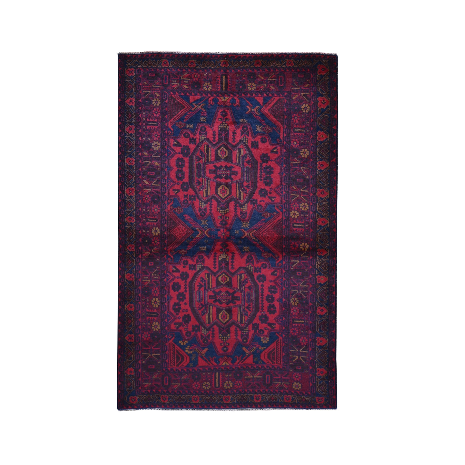 """3'10""""X6'6""""  Deep Saturated Red Afghan Baluch Tribal Design Pure Wool Hand Knotted Oriental Rug moad9708"""