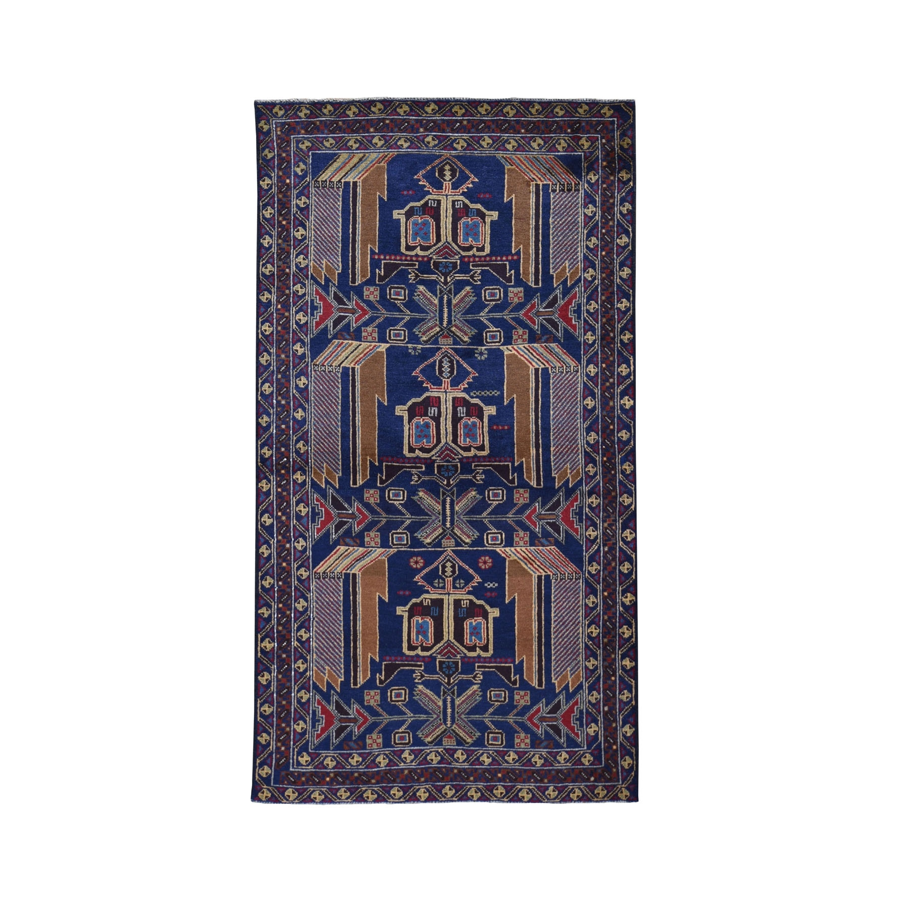 """3'7""""X6'10"""" Navy Blue Afghan Baluch Geometric Design Wide Runner Pure Wool Oriental Rug moad9709"""