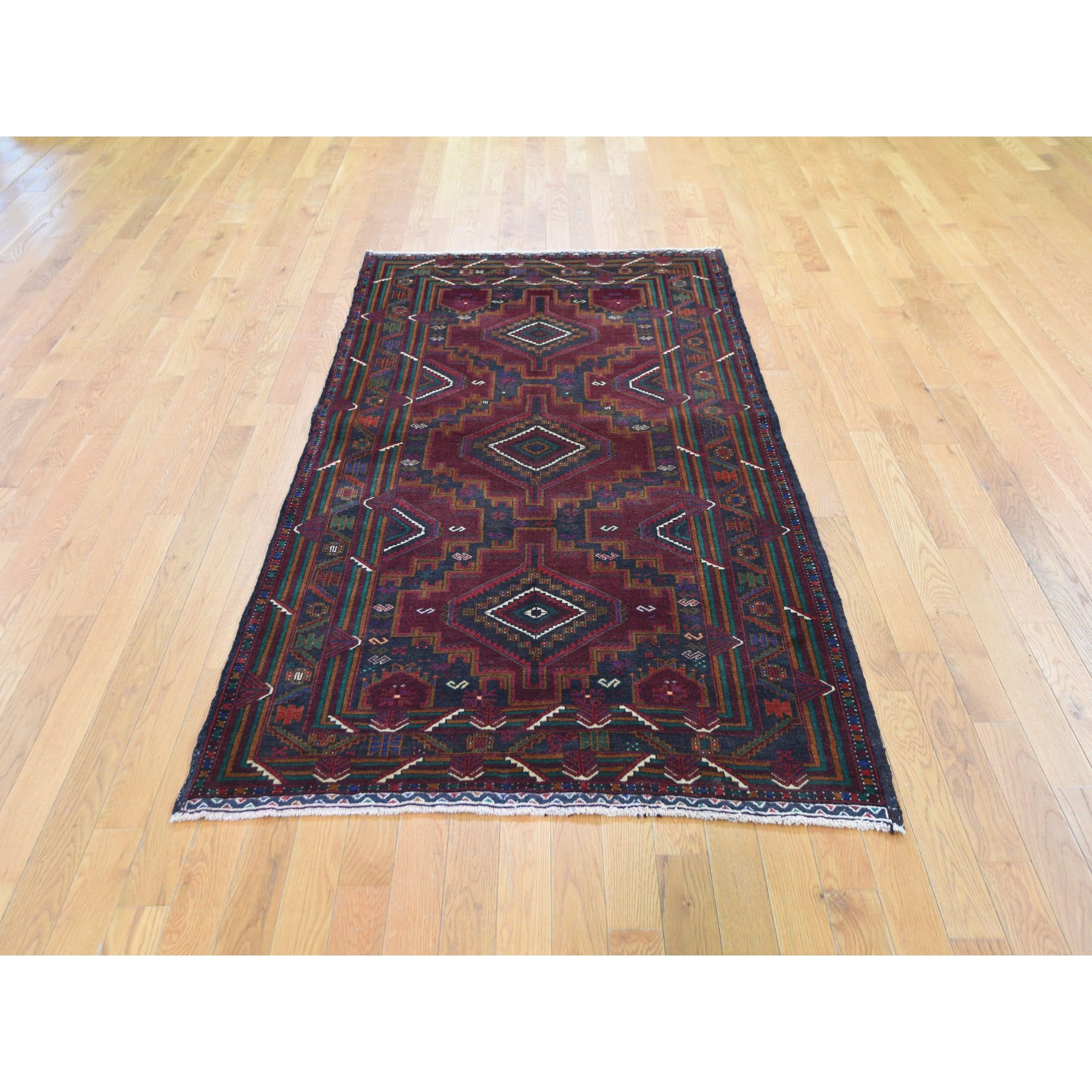 3-10 x7- Afghan Baluch Touch Of Blue Geometric Design Pure Wool Hand Knotted Oriental Rug