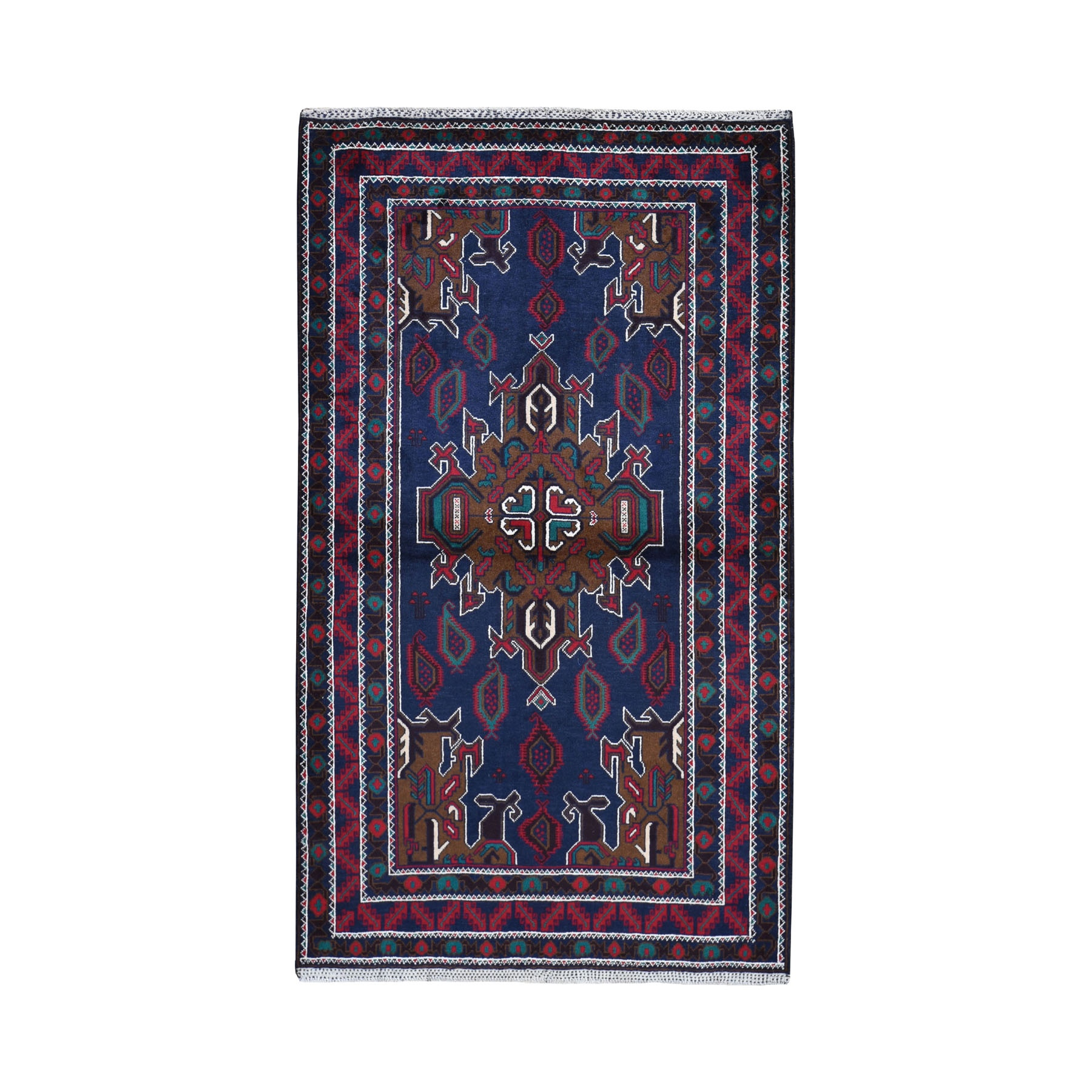 """3'10""""X6'9"""" Navy Blue Afghan Baluch With Center Medallion Pure Wool Hand Knotted Oriental Rug moad97aa"""
