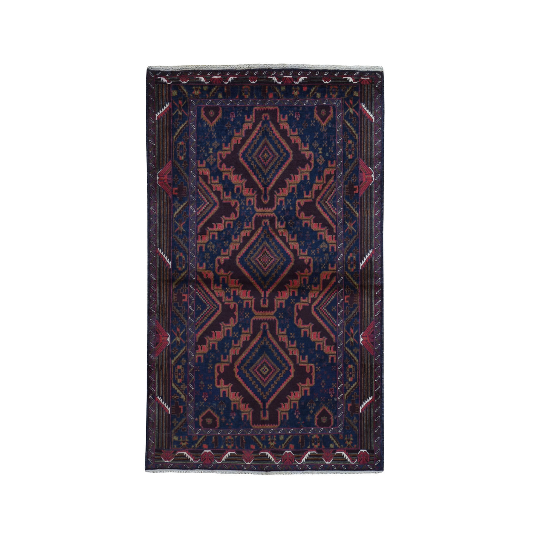 """3'10""""X6'9"""" Afghan Baluch Navy Blue Geometric Design Pure Wool Hand Knotted Oriental Rug moad97ab"""