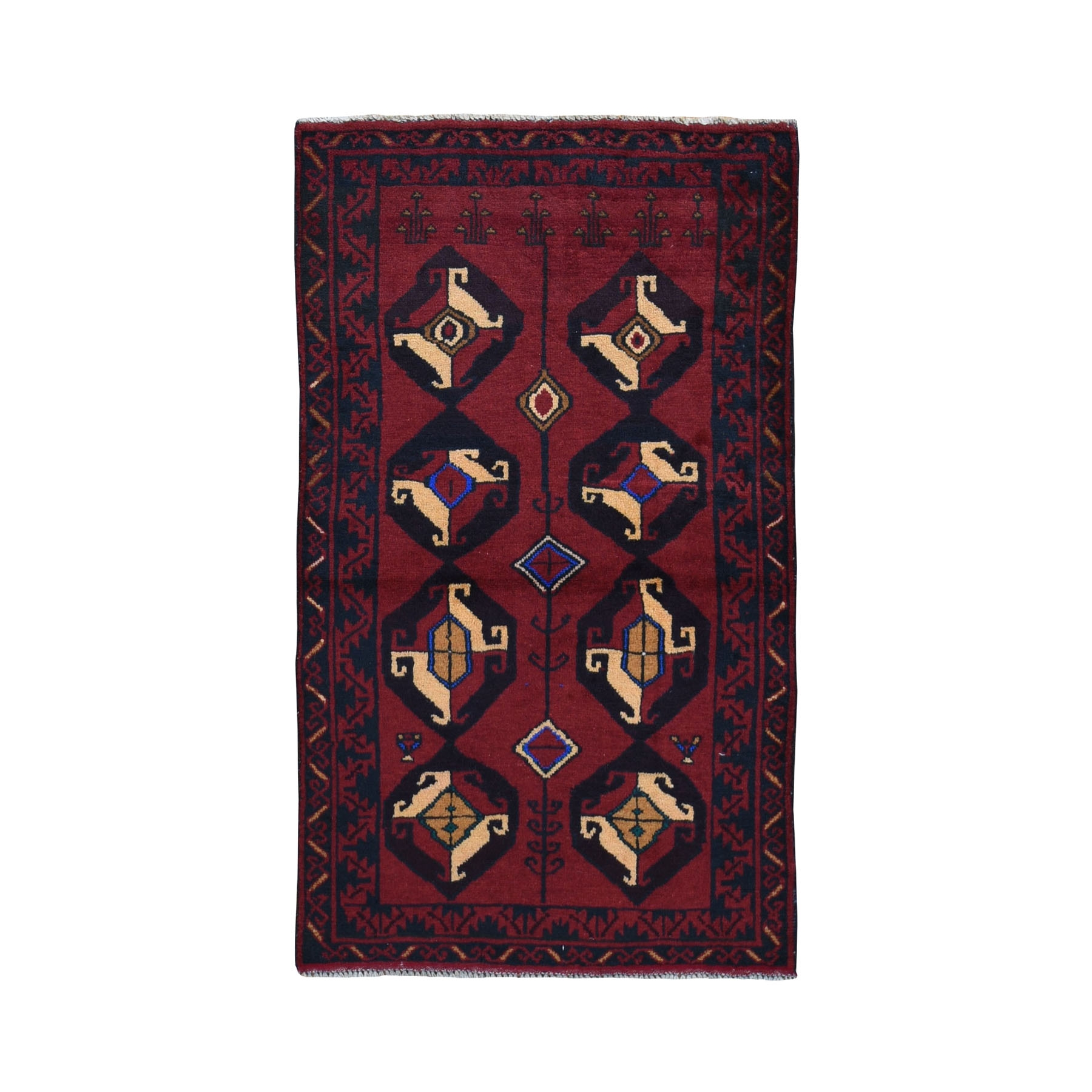 """2'9""""X4'8"""" Saturated Red Afghan Baluch All Over Design Pure Wool Hand Knotted Oriental Rug moad97a9"""