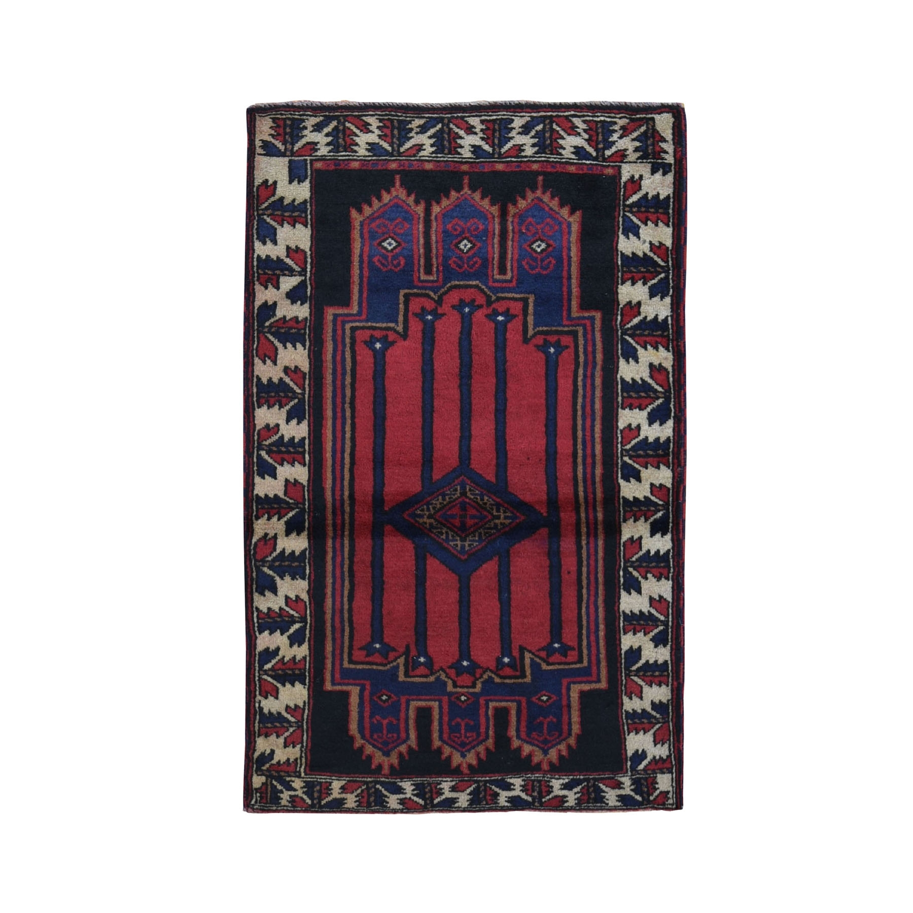 """2'7""""X4'4"""" Afghan Baluch Geometric Design Pure Wool Hand Knotted Oriental Rug moad97ba"""