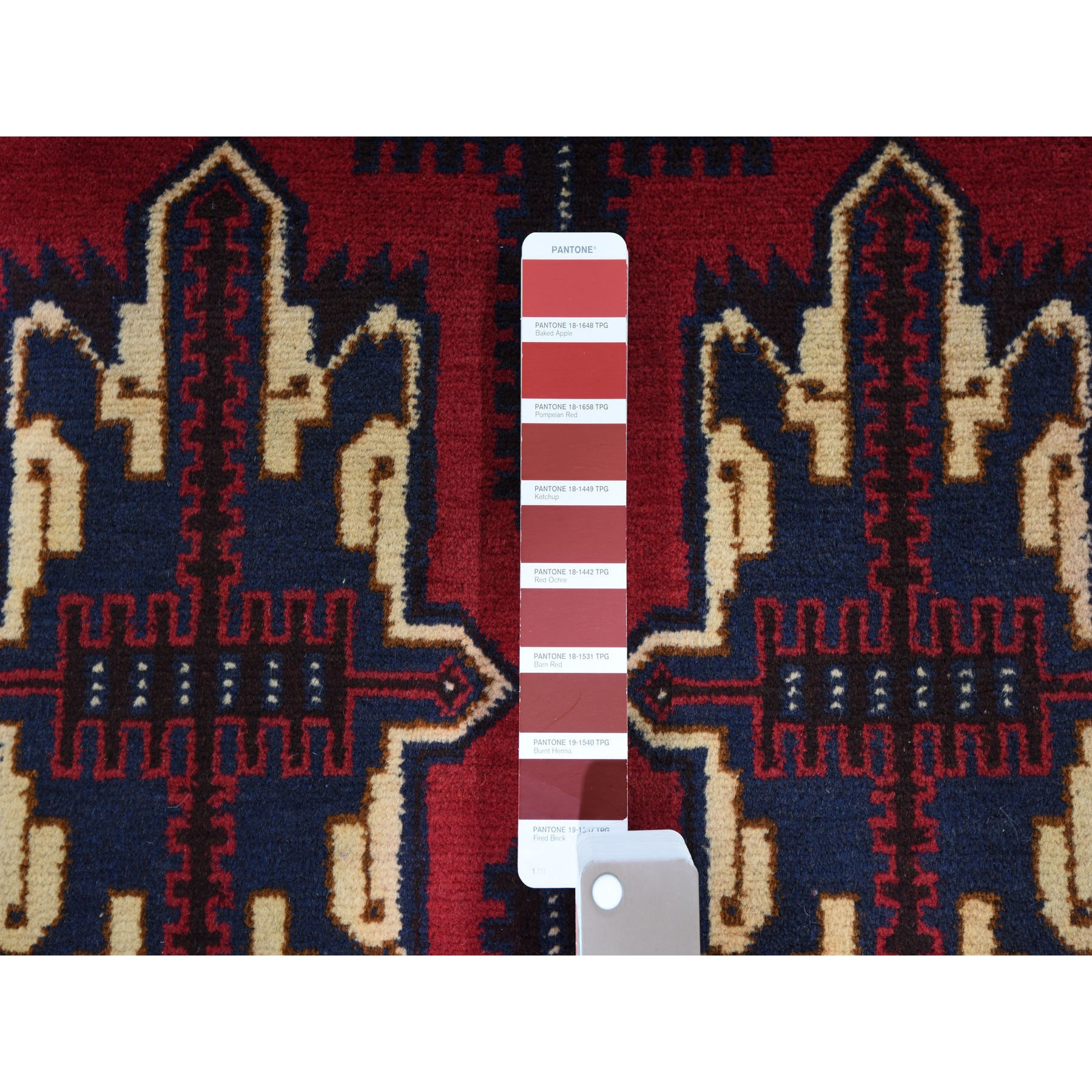 3-8 x6-9  Deep Saturated Red Afghan Baluch Tribal Design Pure Wool Hand Knotted Oriental Rug