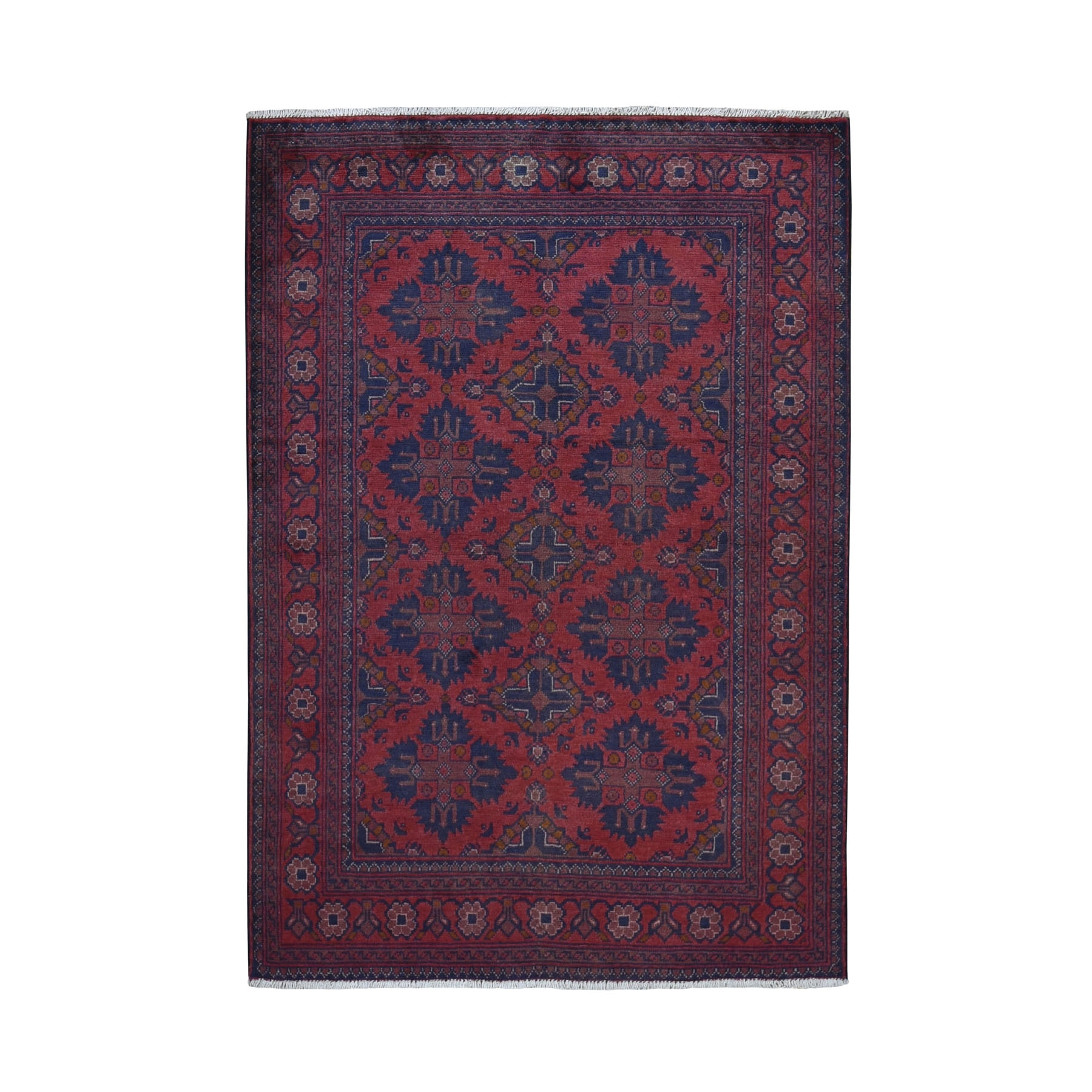 """3'4""""X4'10"""" Deep And Saturated Red Tribal Afghan Andkhoy Pure Wool Hand Knotted Oriental Rug moad97be"""