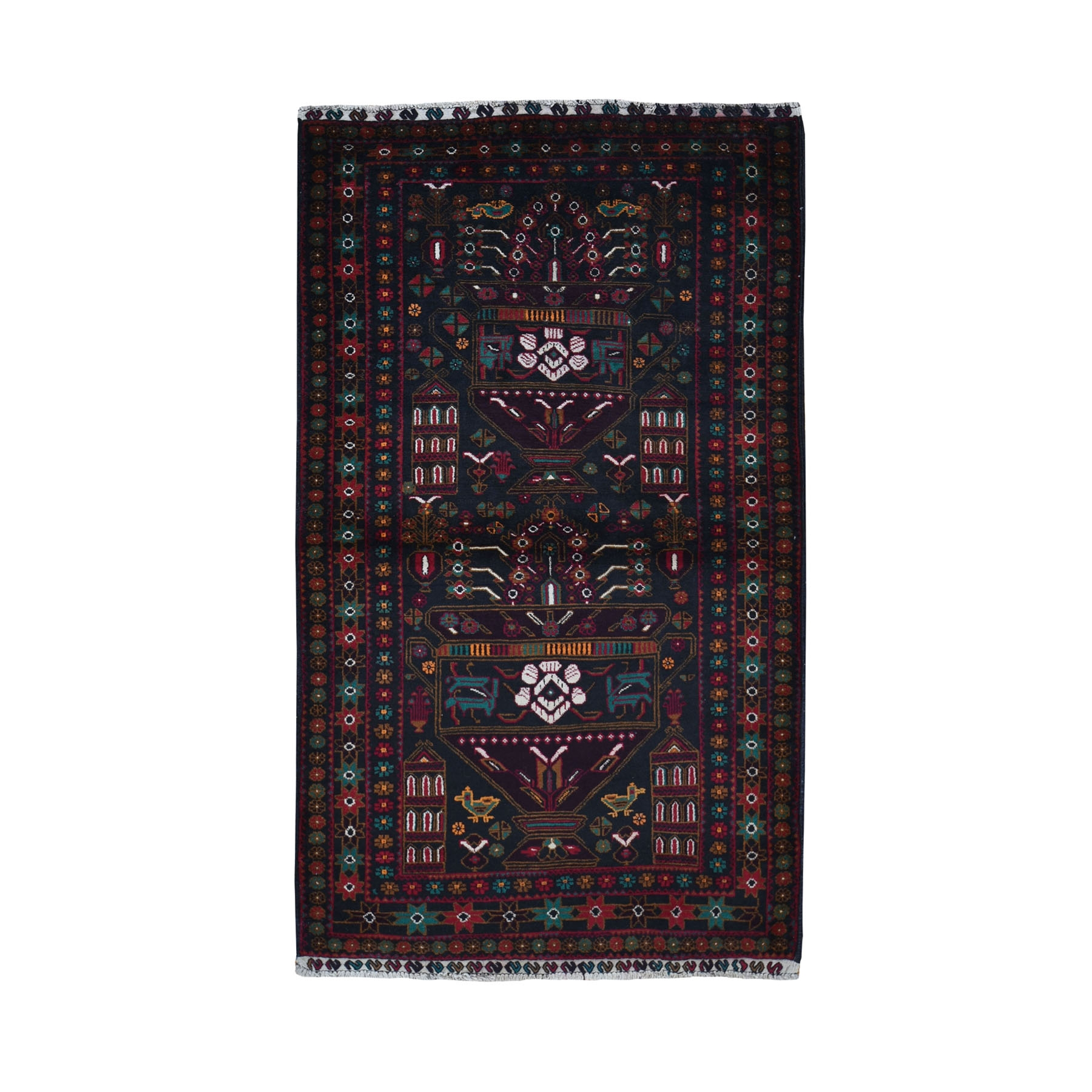 """3'10""""X6'5"""" Navy Afghan Baluch Vase Design Pure Wool Hand Knotted Oriental Rug moad97b6"""
