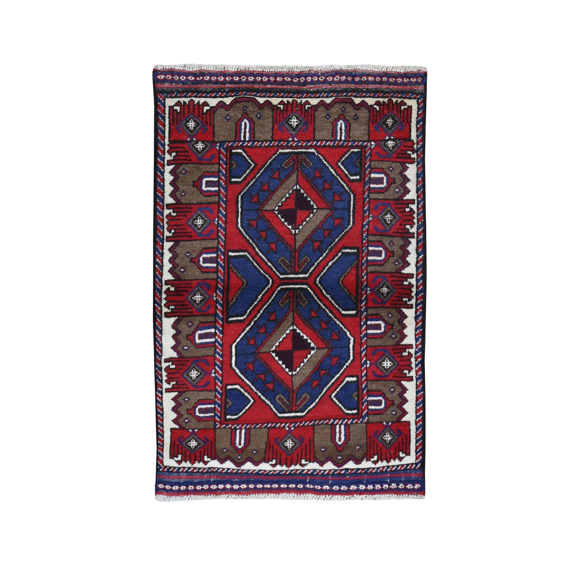 """2'9""""X4'3"""" Afghan Baluch Geometric Design Pure Wool Hand Knotted Oriental Rug moad97b7"""