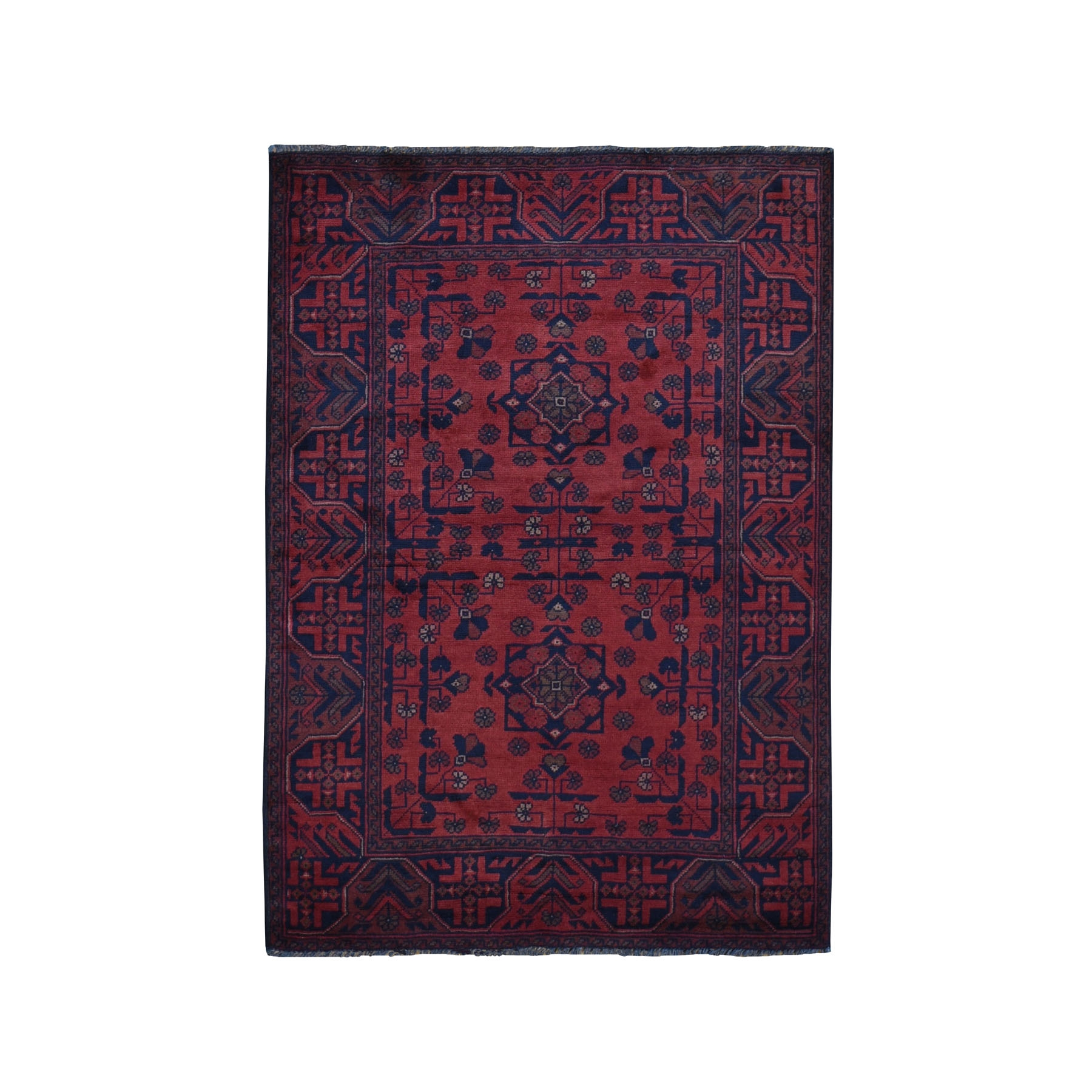 """3'5""""X4'10"""" Deep And Saturated Red Afghan Andkhoy Pure Wool Hand Knotted Oriental Rug moad97b8"""