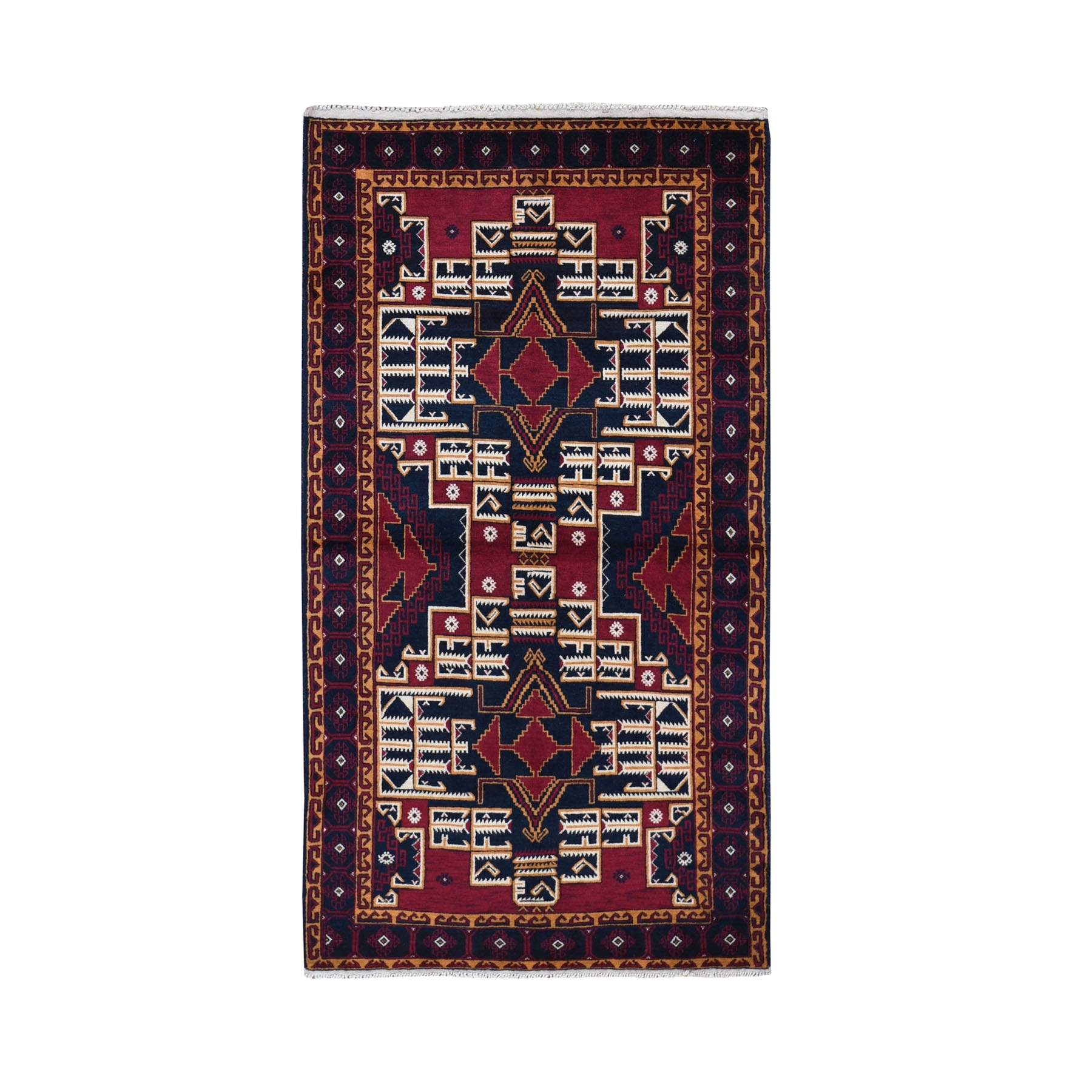 """3'6""""X6'4"""" Afghan Baluch Geometric Design Pure Wool Hand Knotted Oriental Rug moad97b9"""
