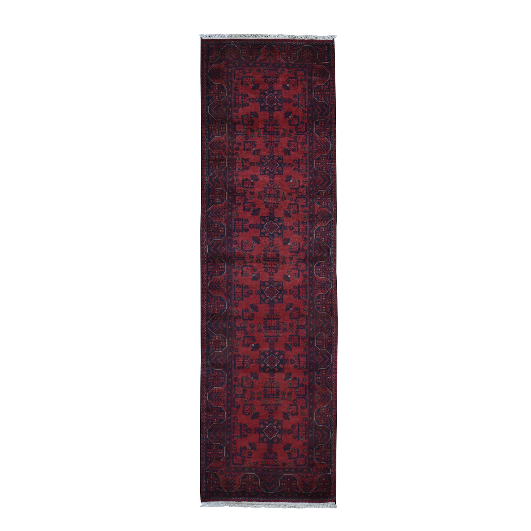 """2'9""""X9'7"""" Afghan Andkhoy Saturated Red Runner Pure Wool Hand Knotted Tribal Oriental Rug moad97c0"""