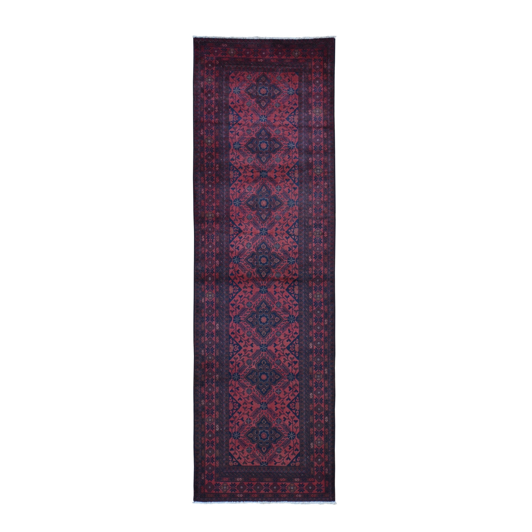 """2'8""""X9'2"""" Deep And Saturated Red Geometric Afghan Andkhoy Runner Pure Wool Hand Knotted Oriental Rug moad97ca"""
