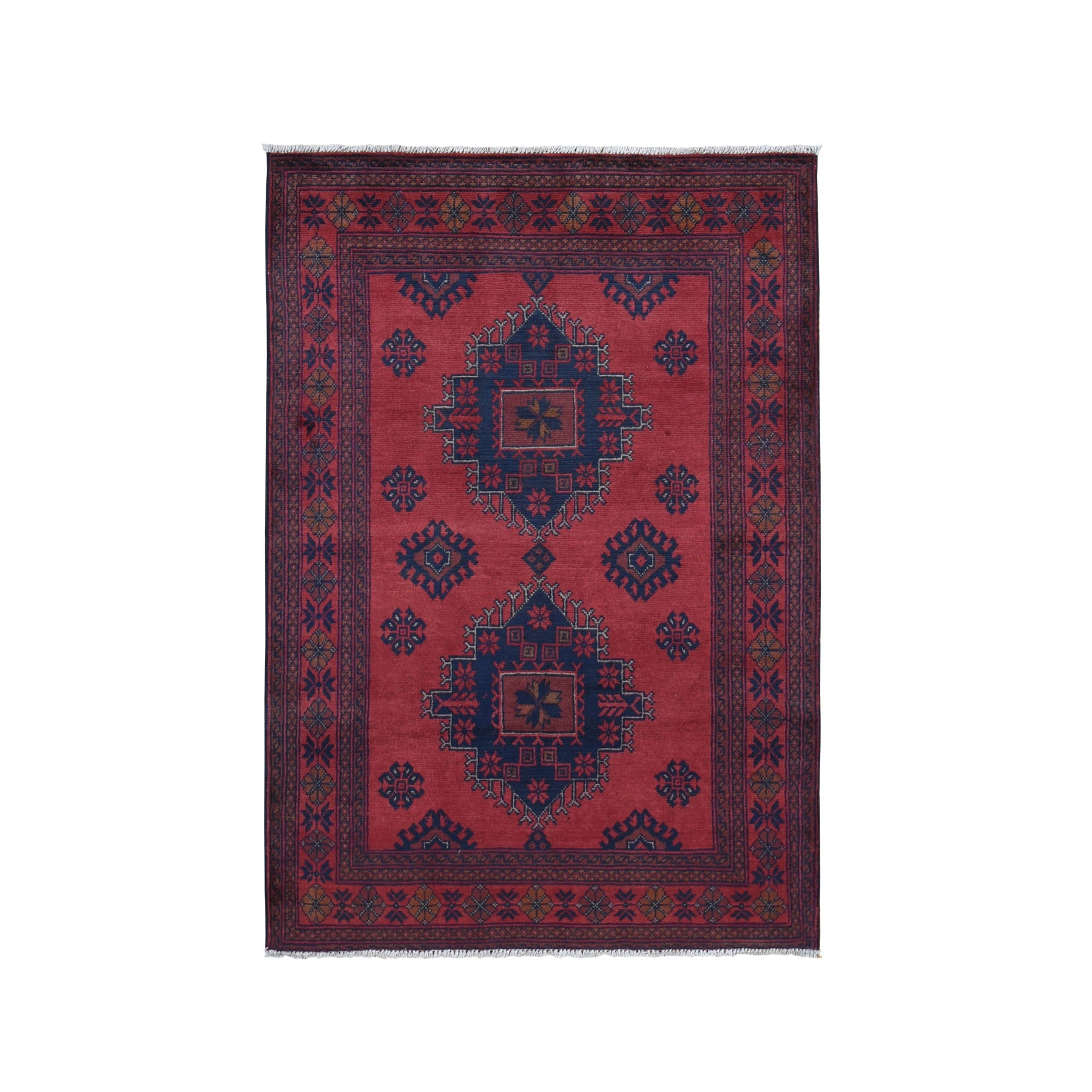 """3'2""""X4'9 Red Geometric Afghan Andkhoy Pure Wool Hand Knotted Oriental Rug moad97cb"""