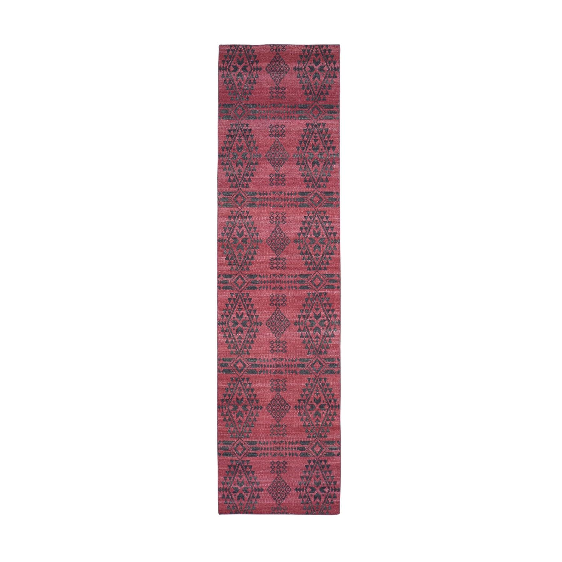 "2'6""x9'10""  Hand Woven Flat Weave Pure Wool Reversible Kilim Runner Oriental Rug"