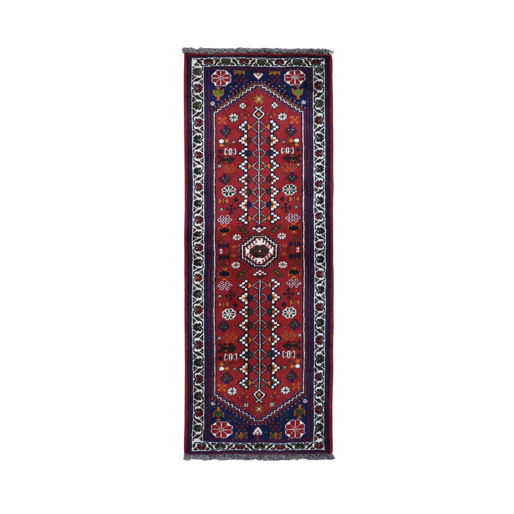 """2'3""""x6'4"""" Red New Persian Pure Wool Hand Knotted Runner Oriental Rug 49745"""