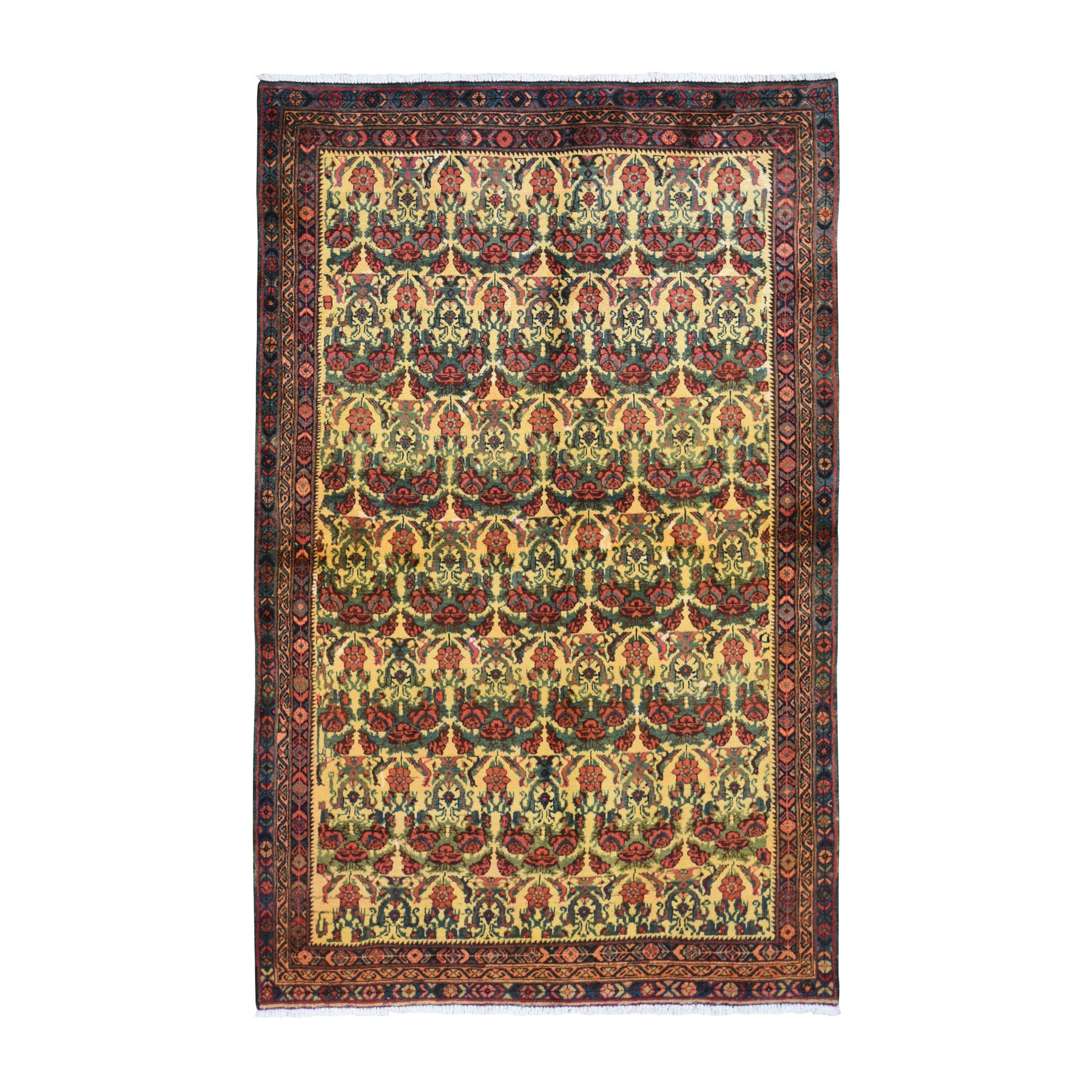 """4'10""""x8' Yellow Vintage Persian Bakhtiari Repetitive flower Design Pure Wool Knotted Oriental Rug"""