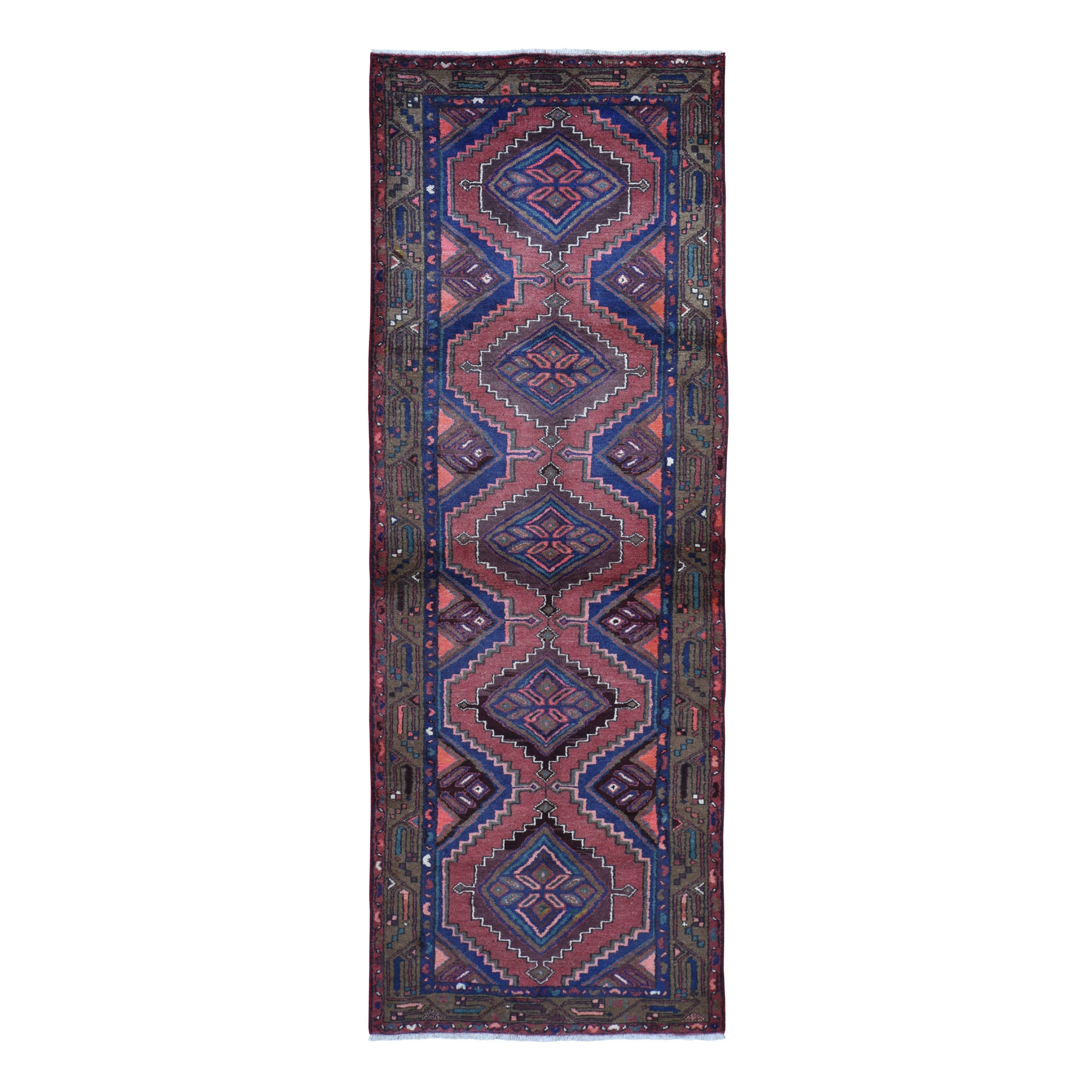 "3'5""X10' Brick Red New Persian Hamadan Pure Wool Hand Knotted Wide Runner Oriental Rug moad97e0"
