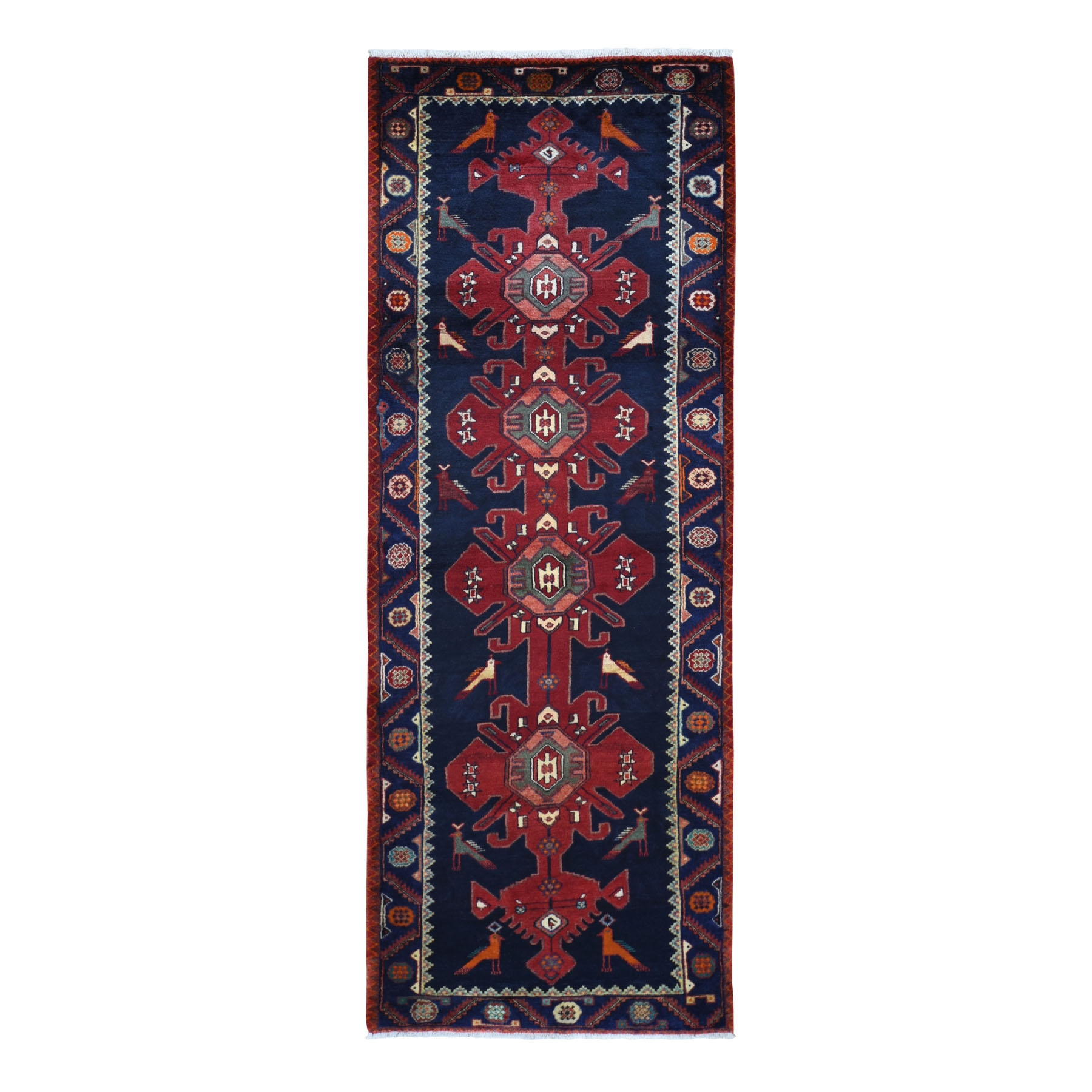 "3'7""X9'6"" Gallery Size Navy Blue With Peacock Design Hand Knotted Tribal Oriental Rug moad97eb"