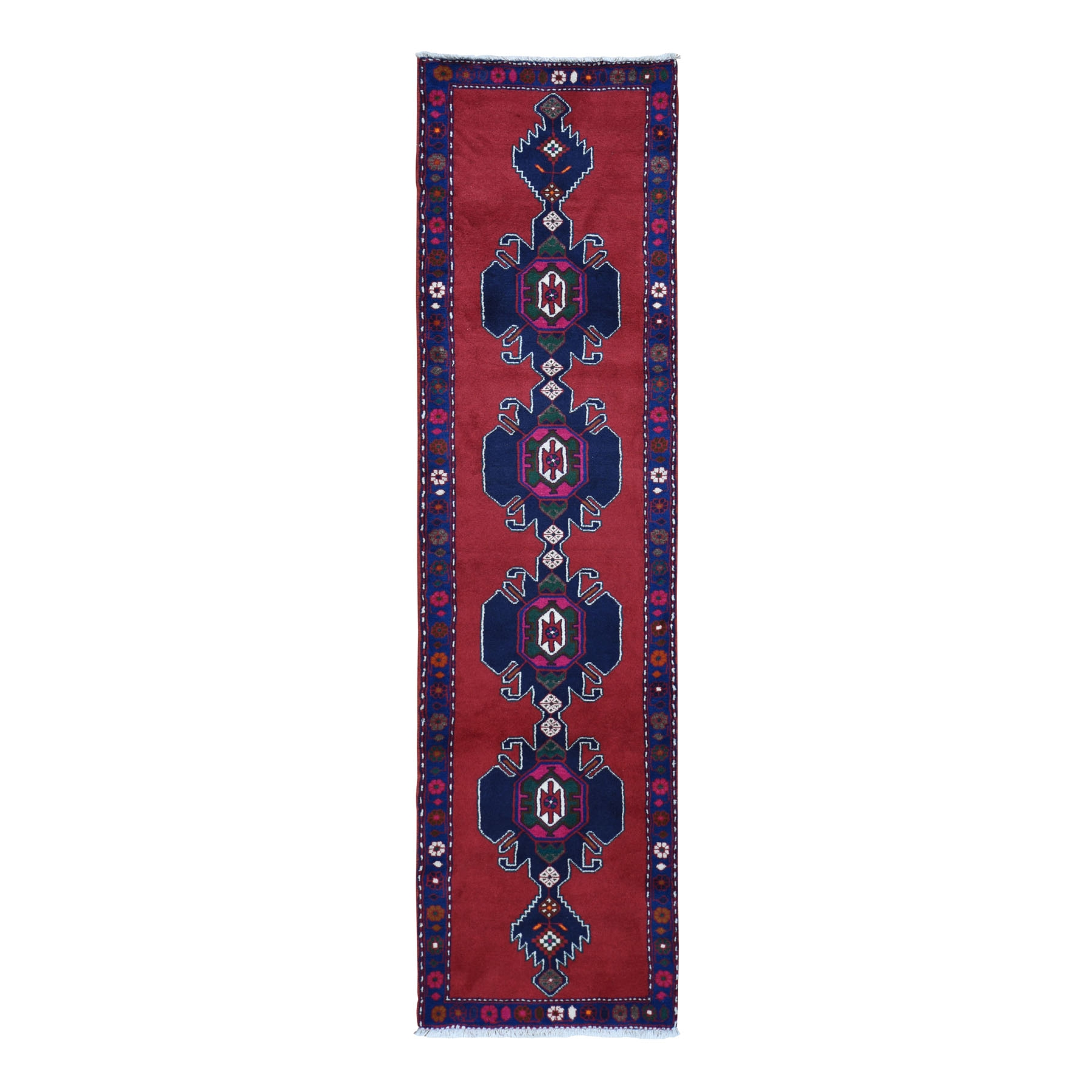 "2'6""X9'3"" Navy Blue New Persian Hamadan Pure Wool Repetitive Medialion Design Open Field Oriental Runner Rug moad97ec"