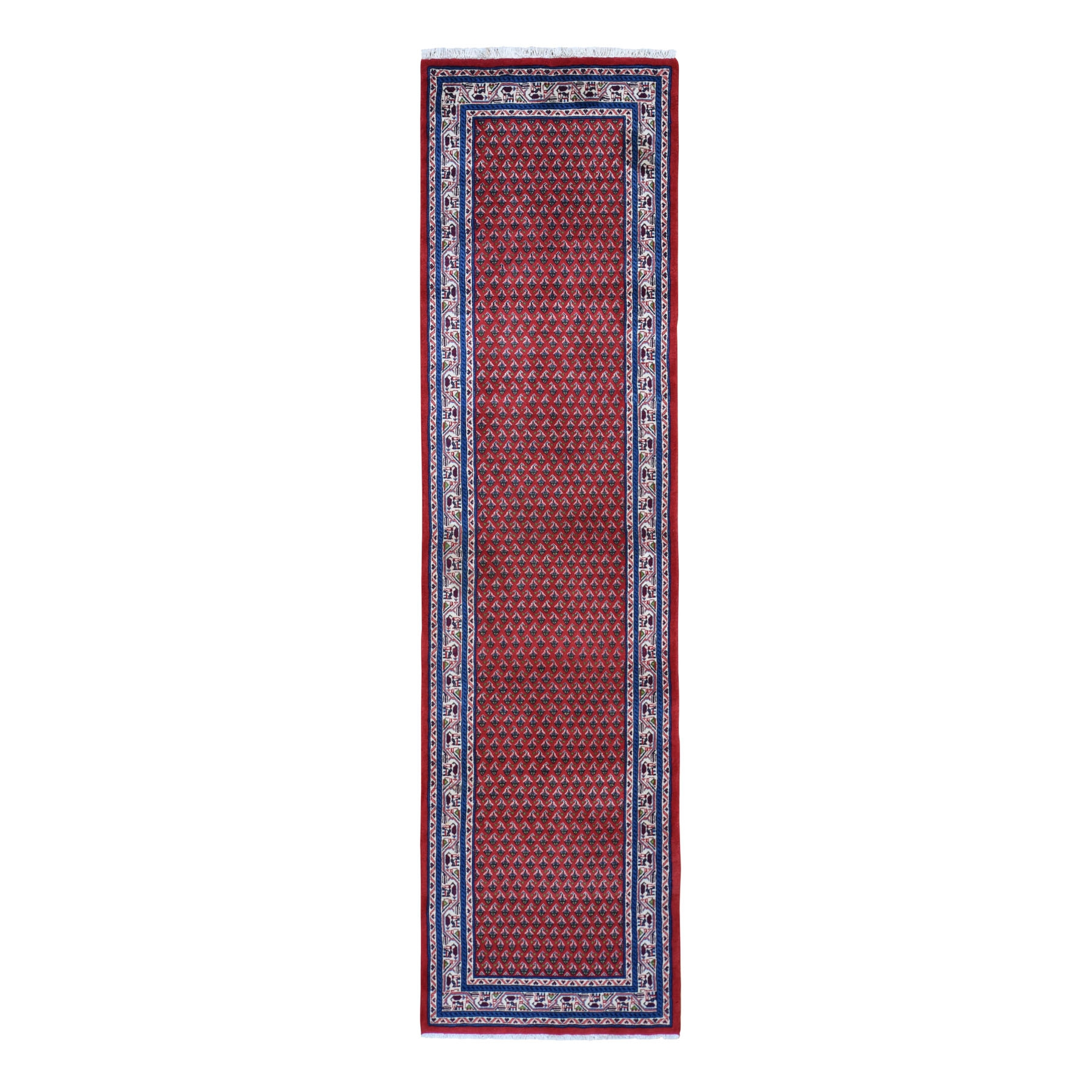 "2'7""X10' Red New Persian Sarouk Mir Runner Pure Wool Hand Knotted Oriental Rug moad97ed"
