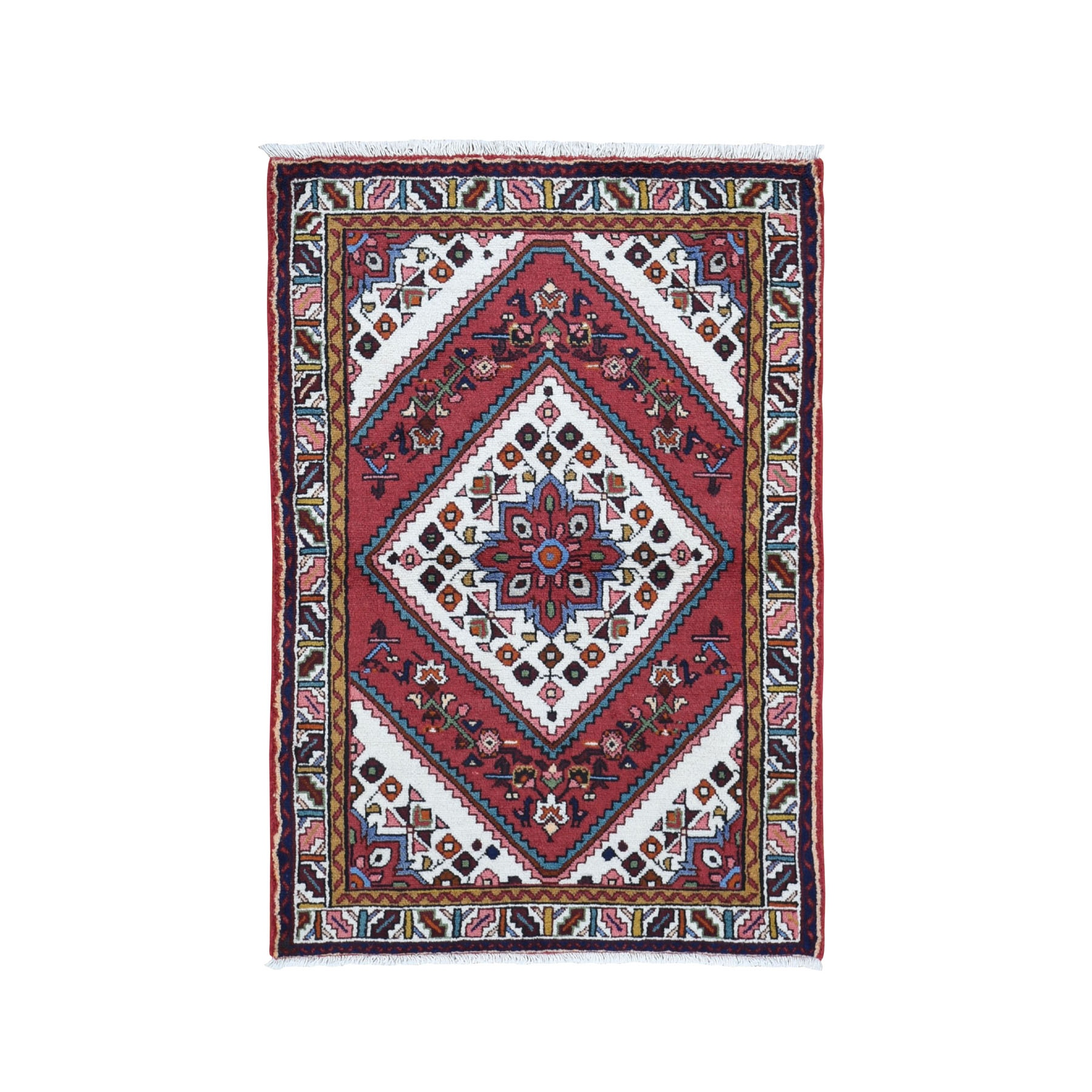 "3'5""X5'1""  Red New Persian Hamadan Pure Wool Hand Knotted Oriental Rug moad97e6"