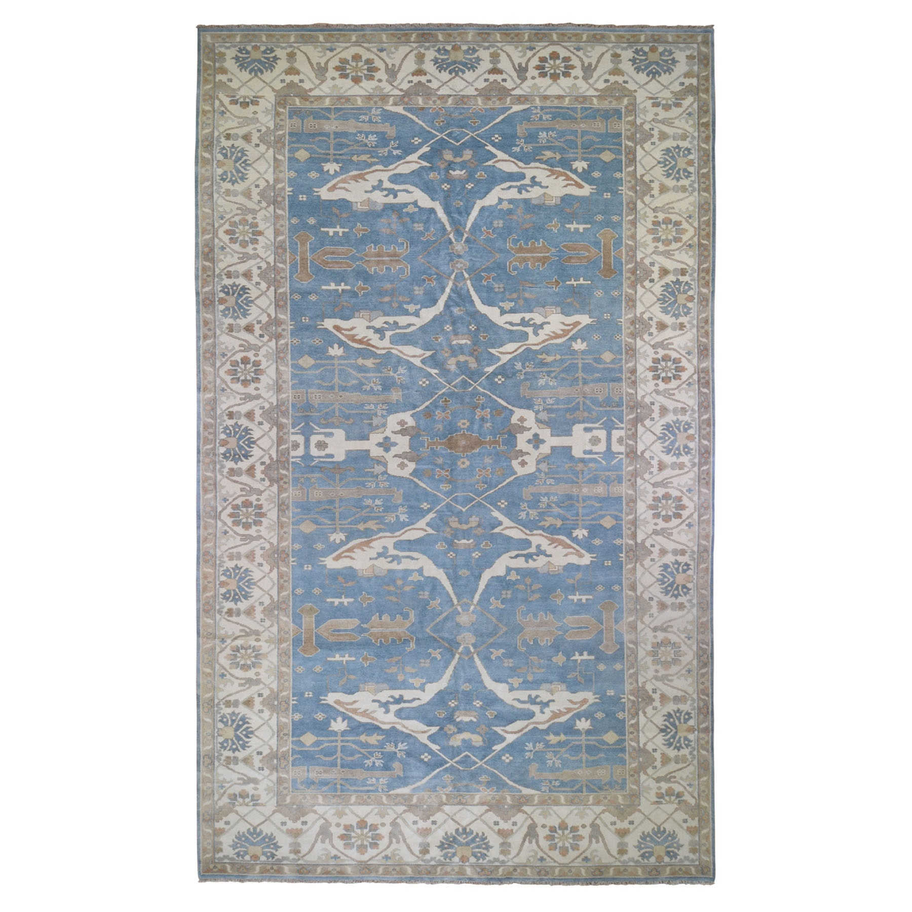 """9'8""""X19'10"""" Sky Blue Gallery Size Oushak Pure Wool Hand Knotted Oriental Rug moad976d"""