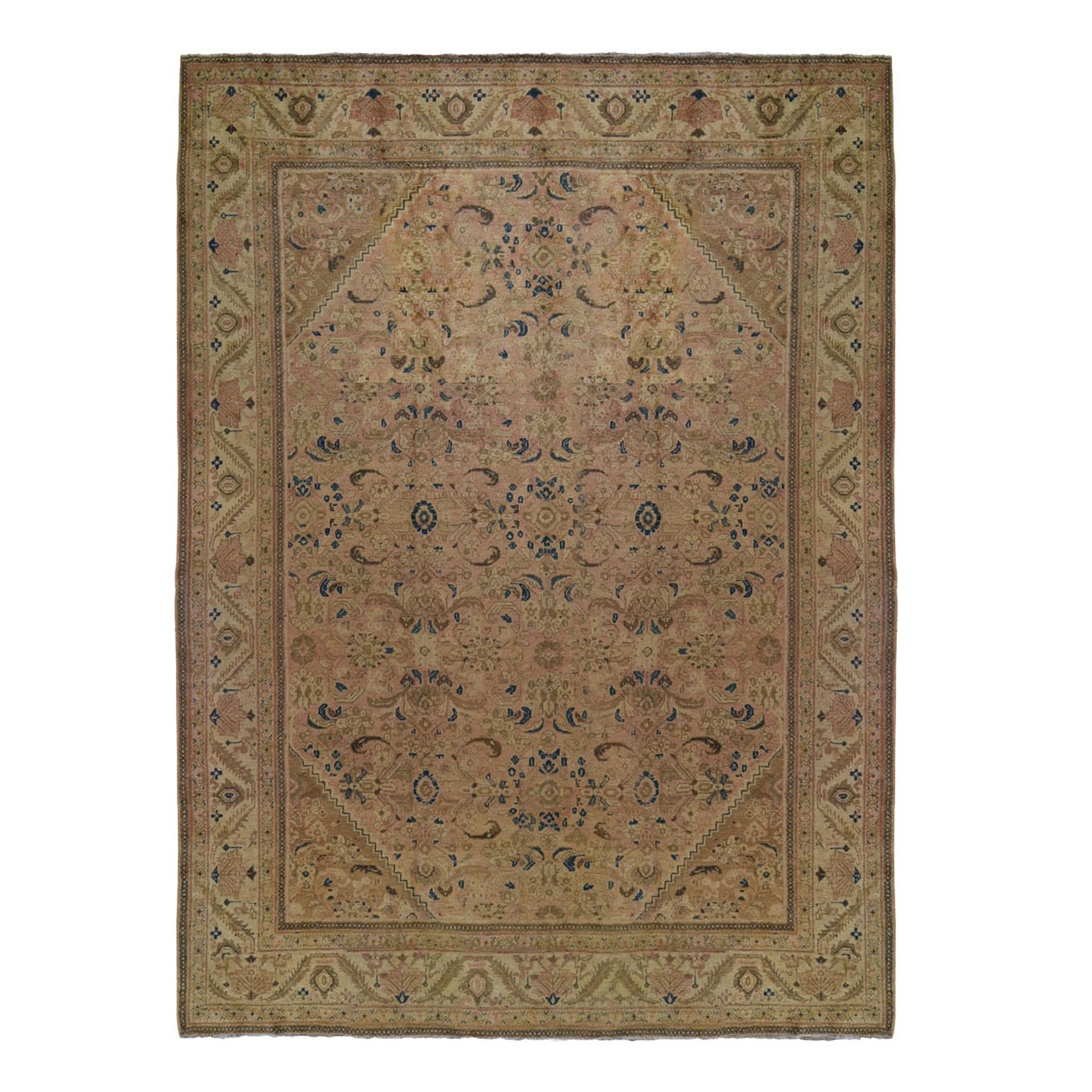 "10'8""X13'6"" Vintage Persian Mahal With Apricot Wash Full Pile Pure Wool Hand Knotted Oriental Rug moad9766"
