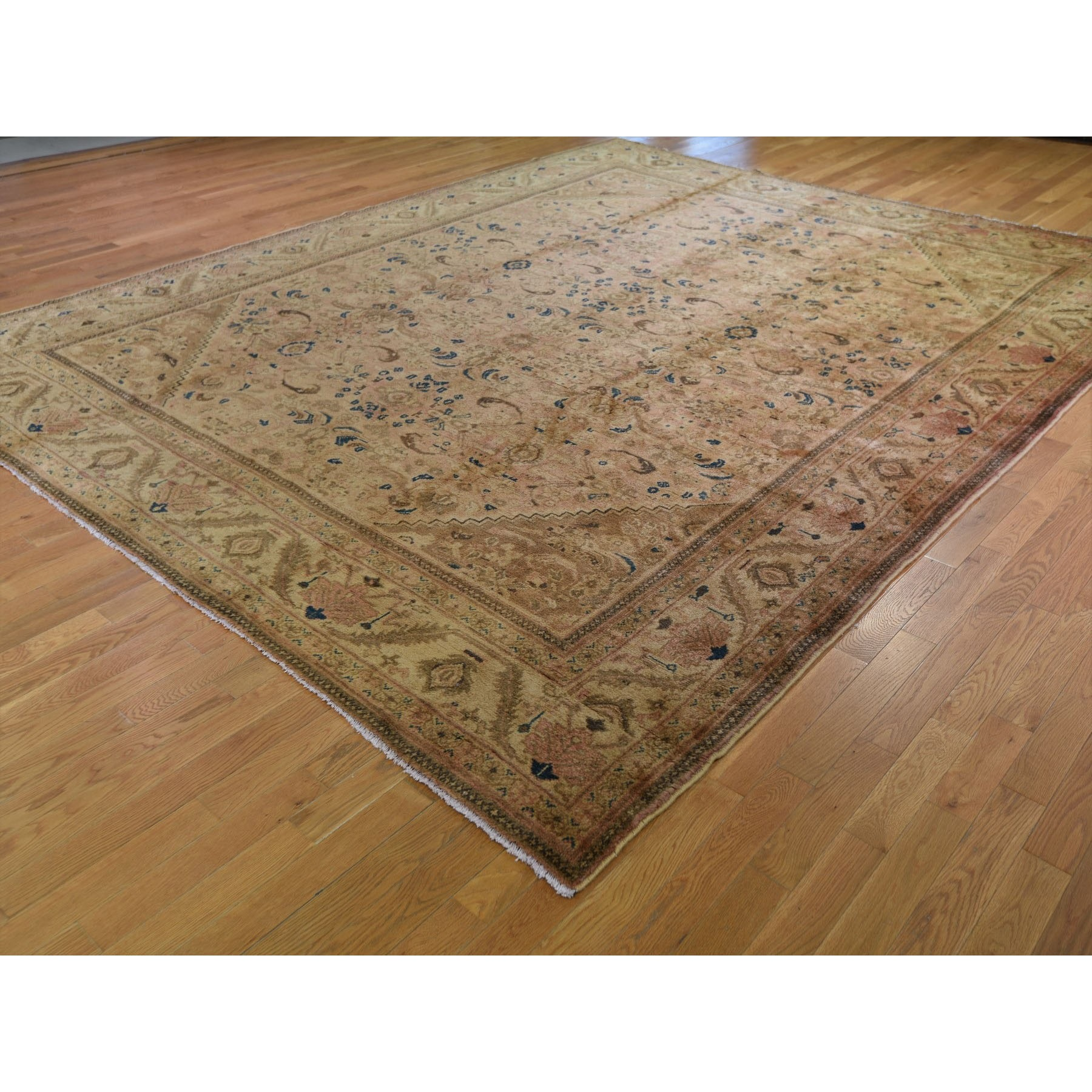 """10'8""""x13'6"""" Vintage Persian Mahal With Apricot Wash Full Pile Pure Wool Hand Knotted Oriental Rug"""