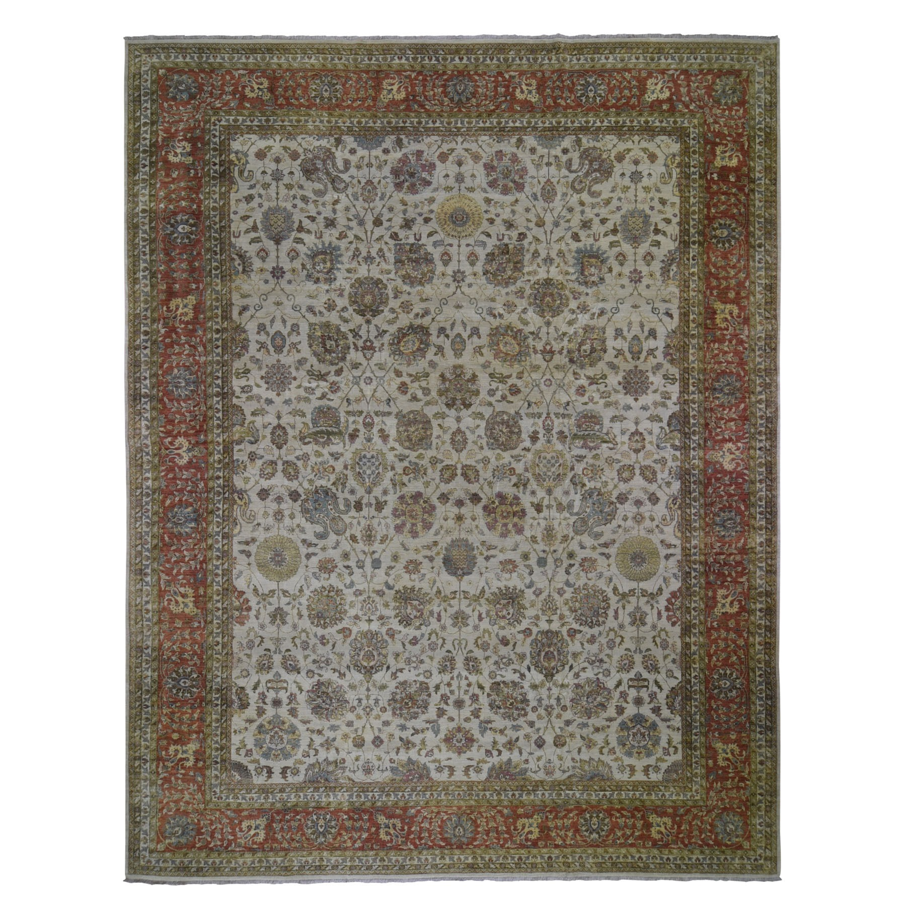 "11'8""X14'10"" Velvet Feel Tabriz New Zealand Wool 300 Kpsi Hand Knotted Oriental Rug moad9768"