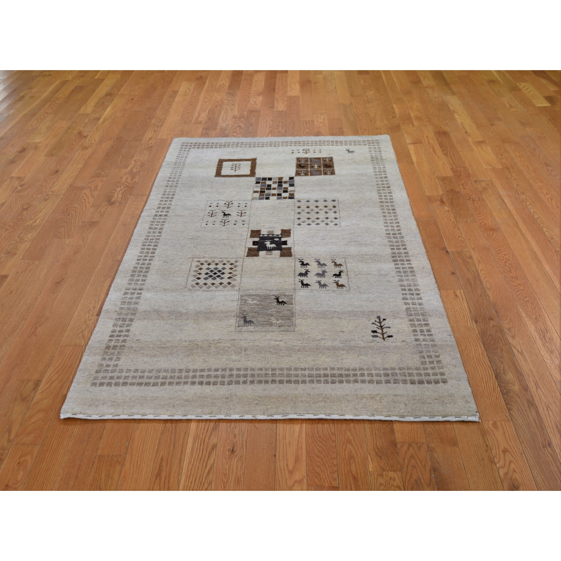 "4'x6'5"" Lori Buft Gabbeh Plush And Lush Thick Pure Wool Hand Knotted Oriental Rug"