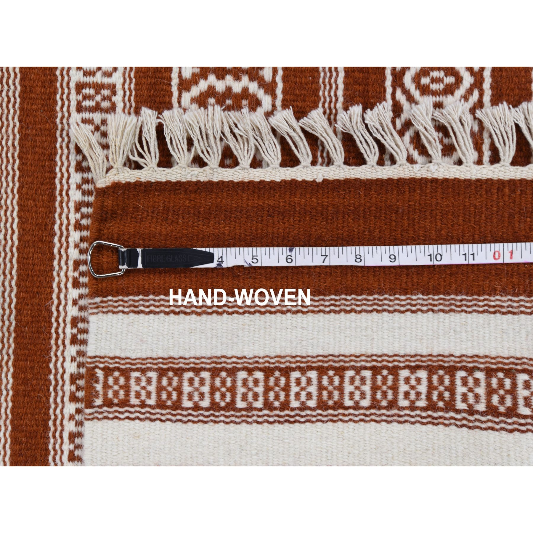 3-x5-2  Burnt Durie Kilim Hand Woven Flat Weave Pure Wool Oriental Rug