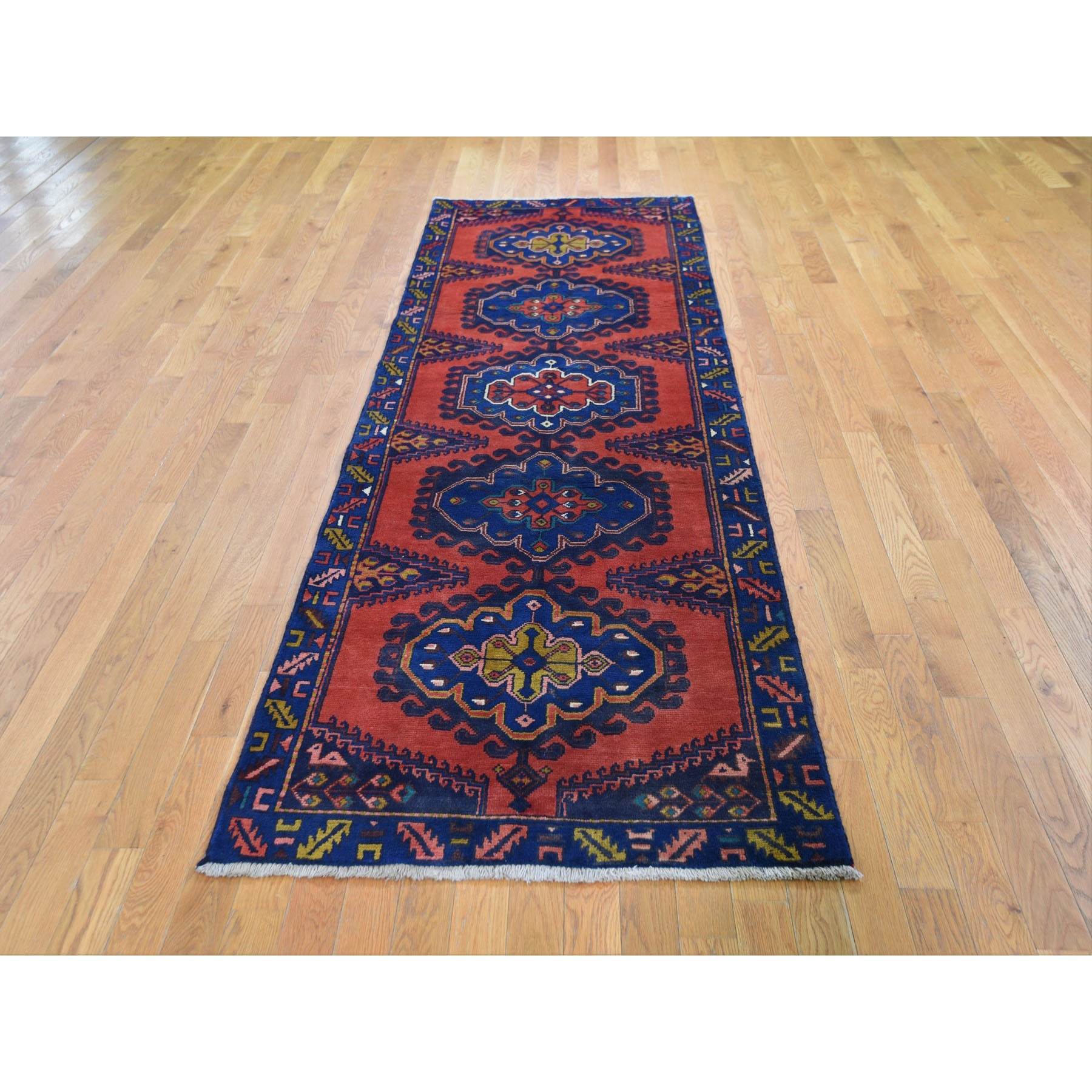"3'3""x9'6"" Red Vintage Persian Viss Runner Full Pile Exc Cond Hand Knotted Oriental Rug"