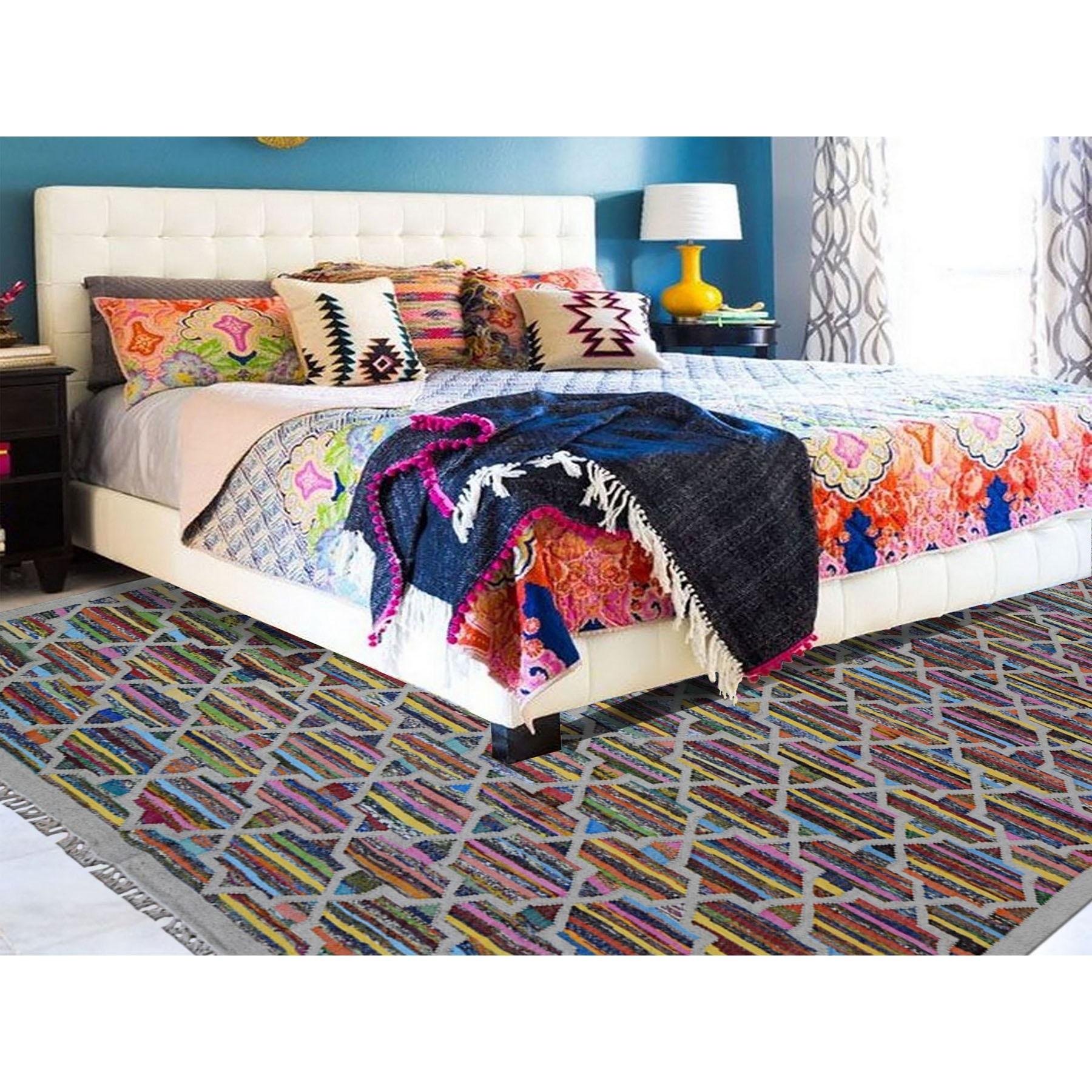 "8'10""x12' Geometric Design Kilim Hand Woven Cotton and Sari Silk Oriental Rug"