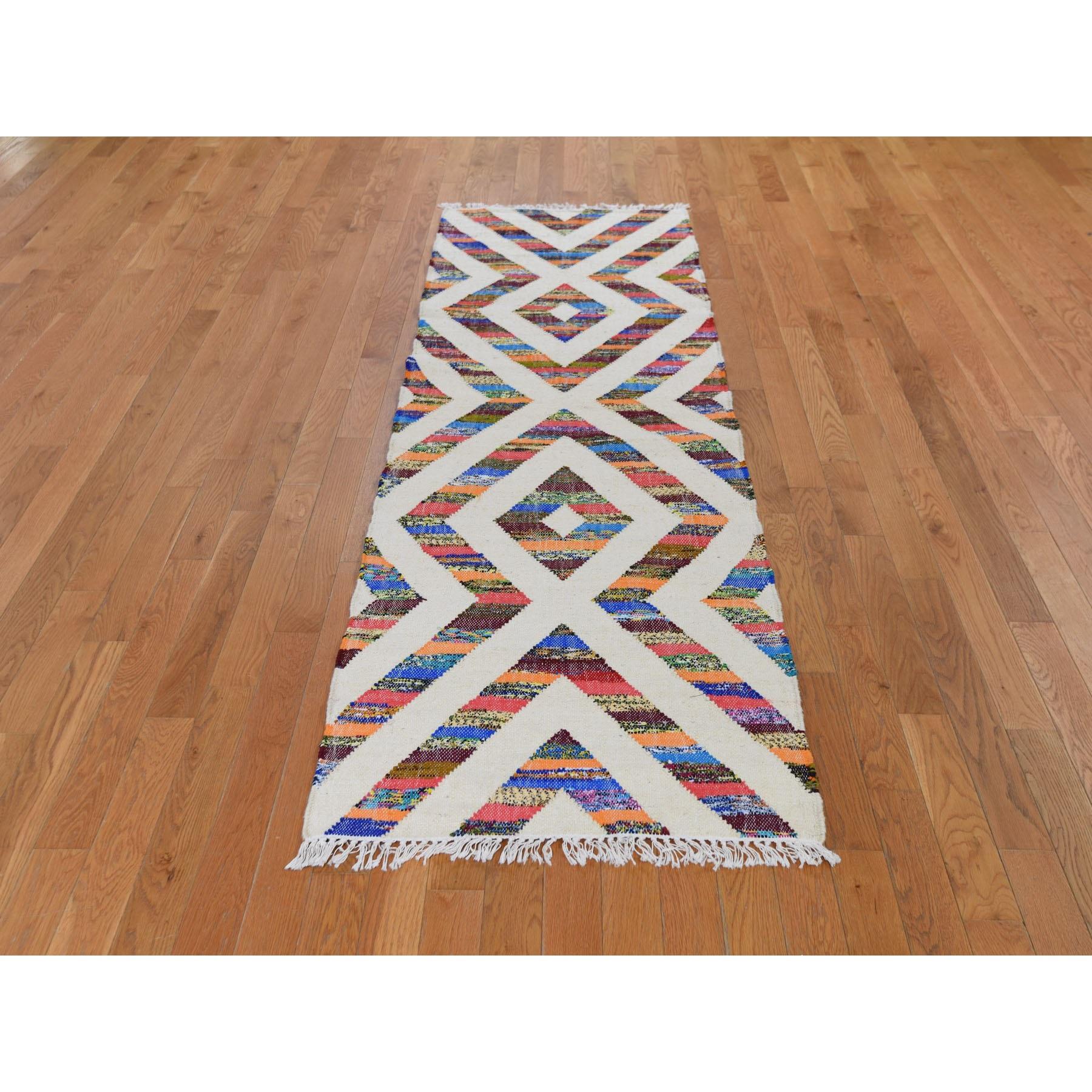 2-7 x7-10  Cotton and Sari Silk Flat Weave Kilim Hand Woven Oriental Runner Rug