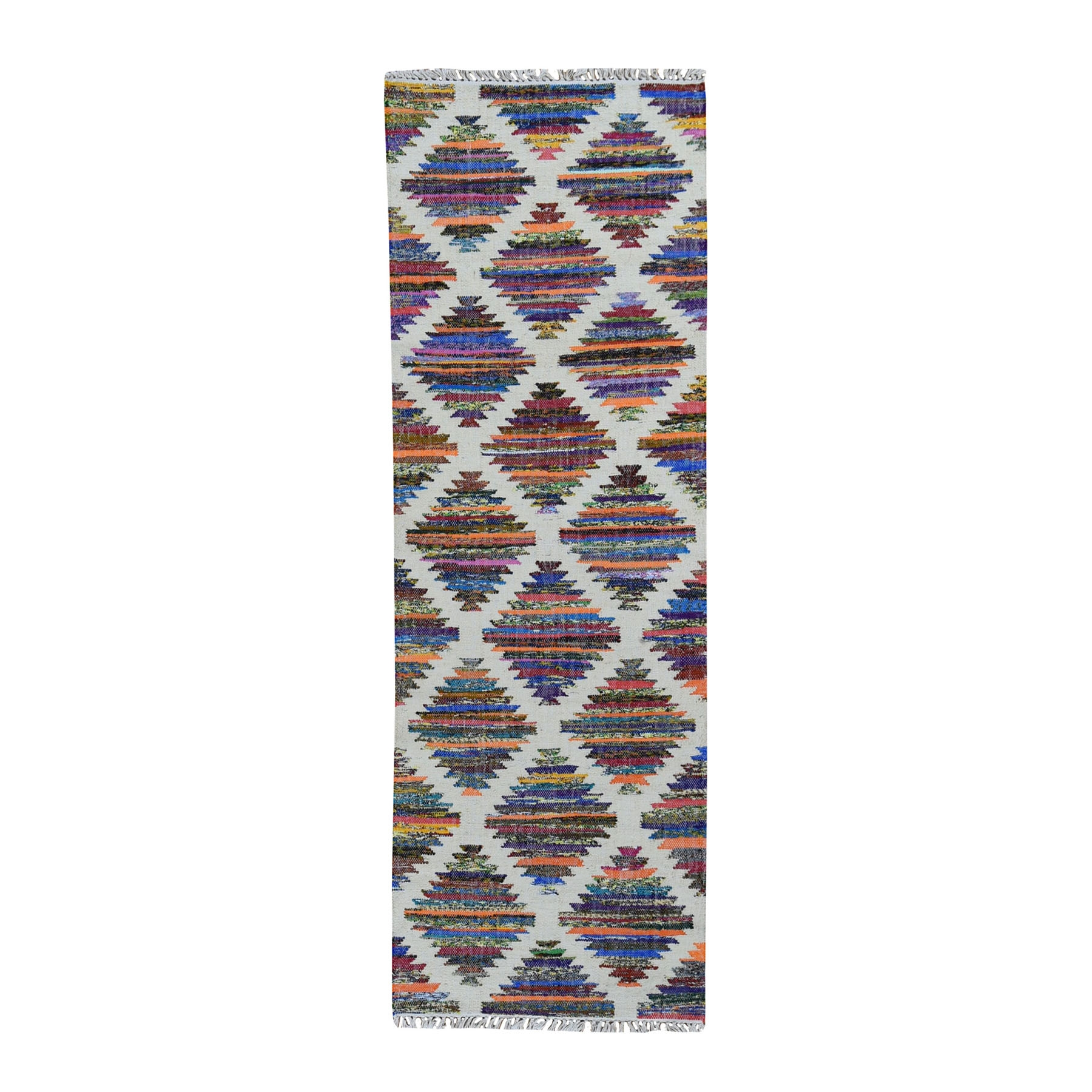 "2'7""X8' Colorful Cotton And Sari Silk Geometric Design Kilim Runner Oriental Rug moad9776"
