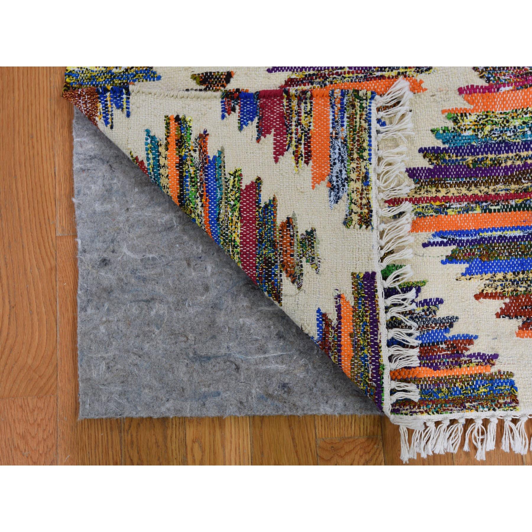 "2'7""x8' Colorful Cotton and Sari Silk Geometric Design Kilim Runner Oriental Rug"