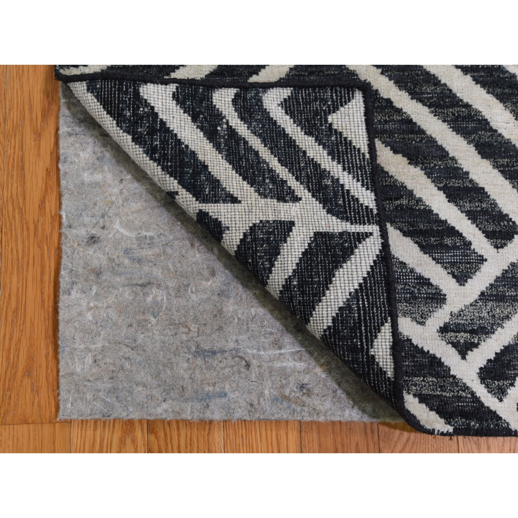 2-x2-2  Blue Pure Silk with Textured Wool Square Hand Knotted Oriental Rug