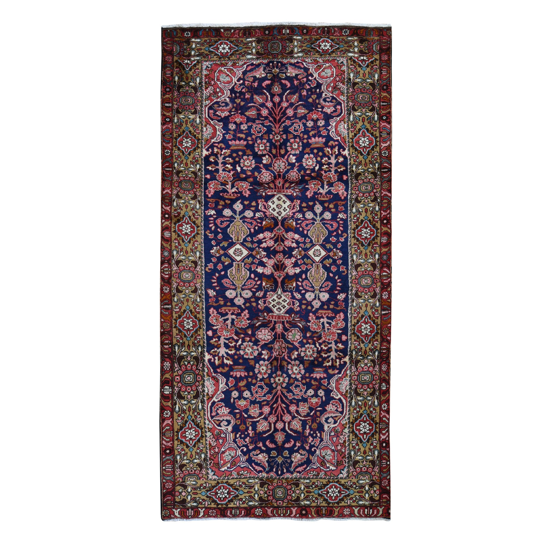 "5'2""X11' Navy Blue Vintage Persian Lilihan Pure Wool Exc Cond Hand Knotted Wide Runner Tribal Oriental Rug moad978b"