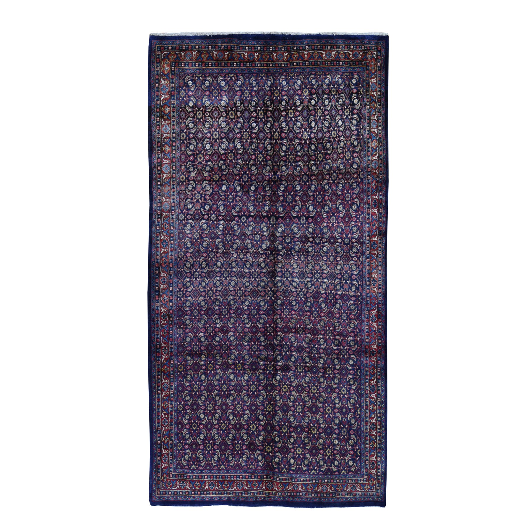 """5'5""""x10'7"""" Gallery Size Navy Vintage Persian All Over Fish Design Pure Wool Hand Knotted Oriental Rug"""