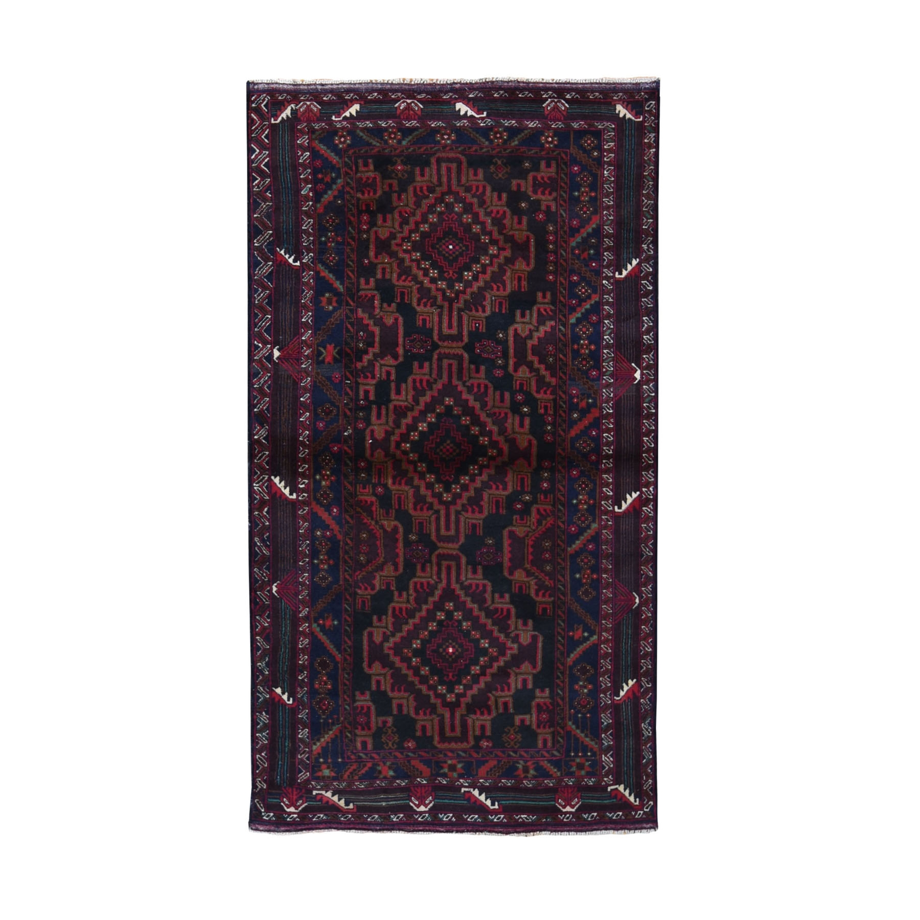 "3'9""X6'9"" Navy Blue Vintage Persian Baluch Pure Wool Wide Runner Hand Knotted Oriental Rug moad978e"