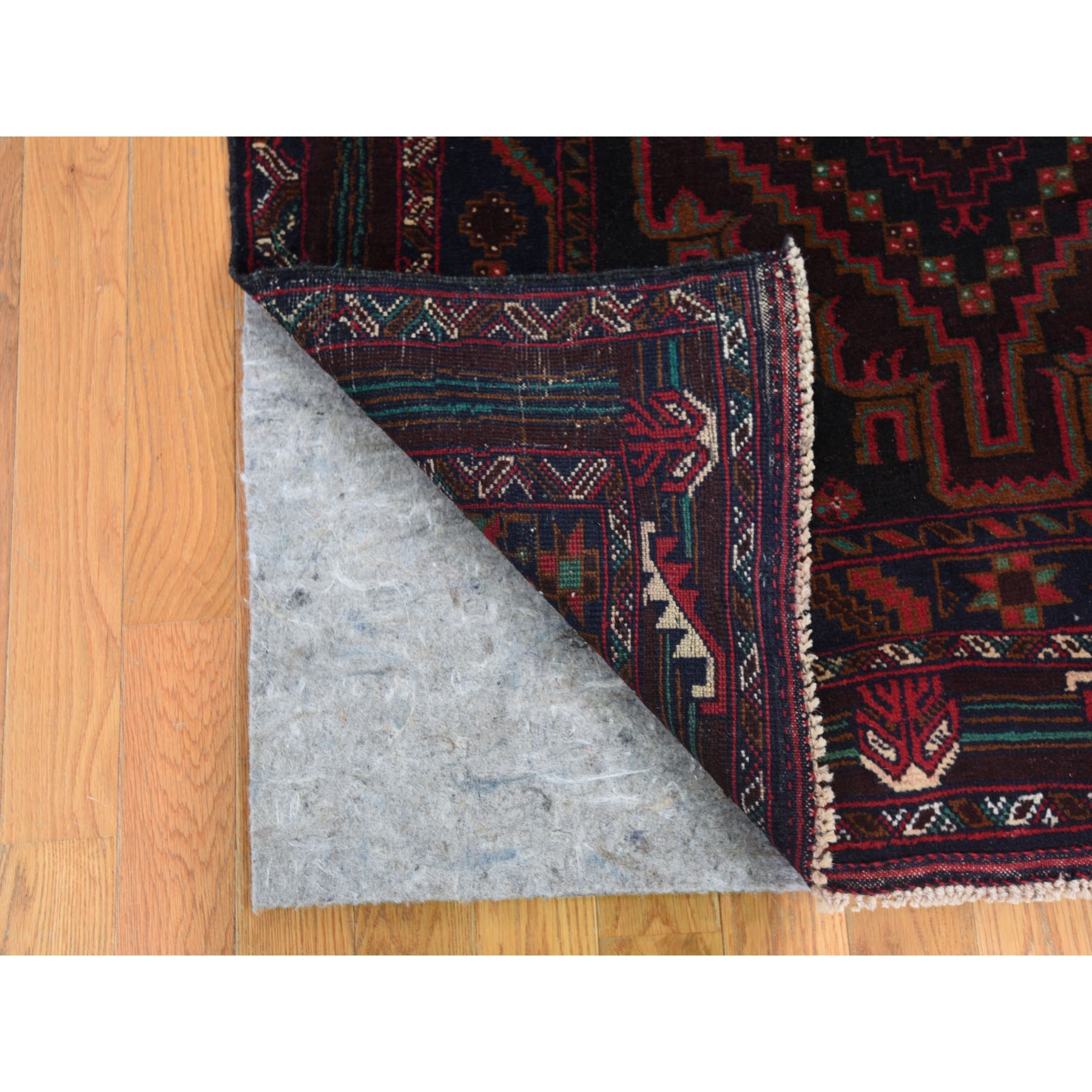 """3'9""""x6'9"""" Navy Blue Vintage Persian Baluch Pure Wool Wide Runner Hand Knotted Oriental Rug"""
