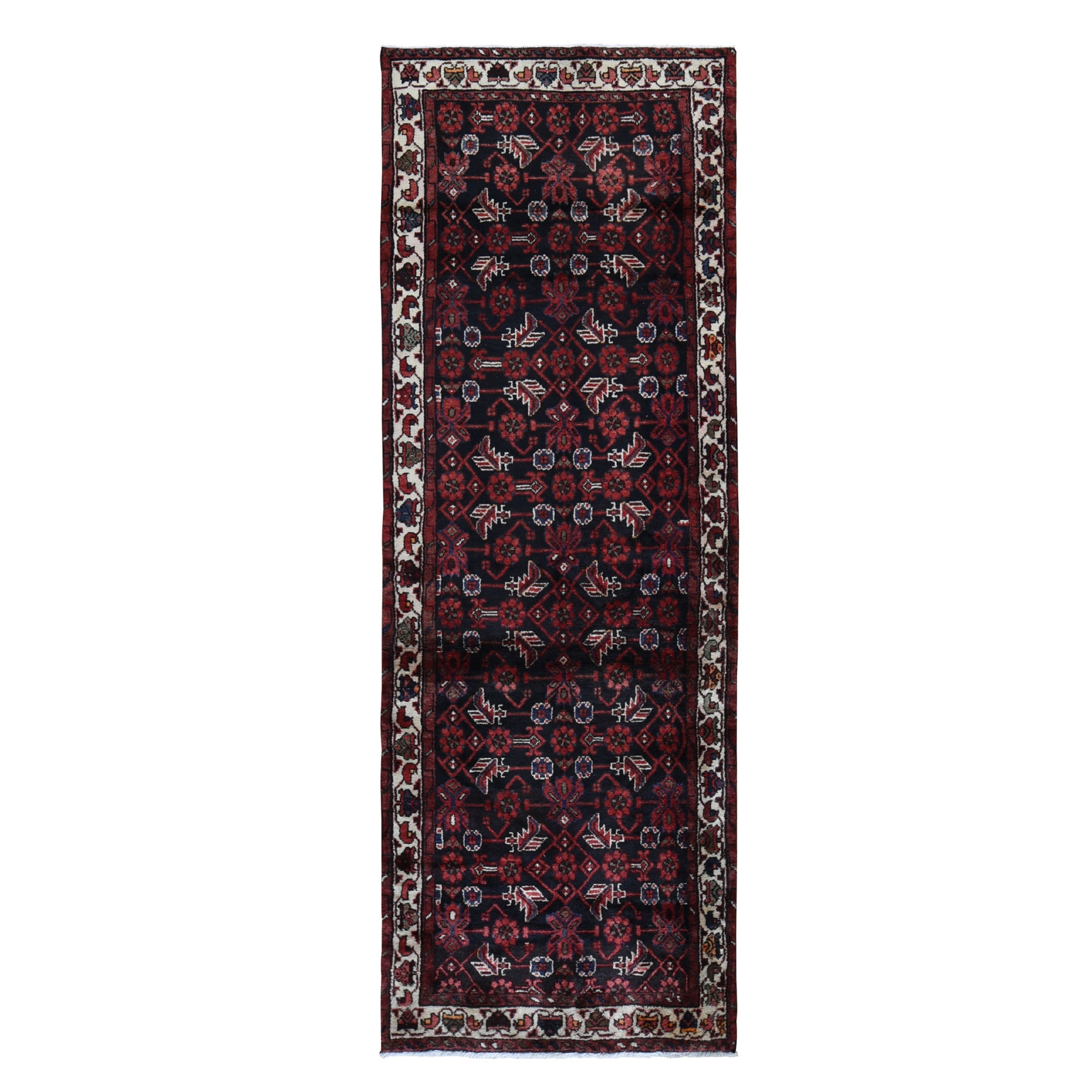 3-5 x9-10  Navy Blue New Persian Malayer All over Design Wide Runner Pure Wool Hand Knotted Oriental Rug