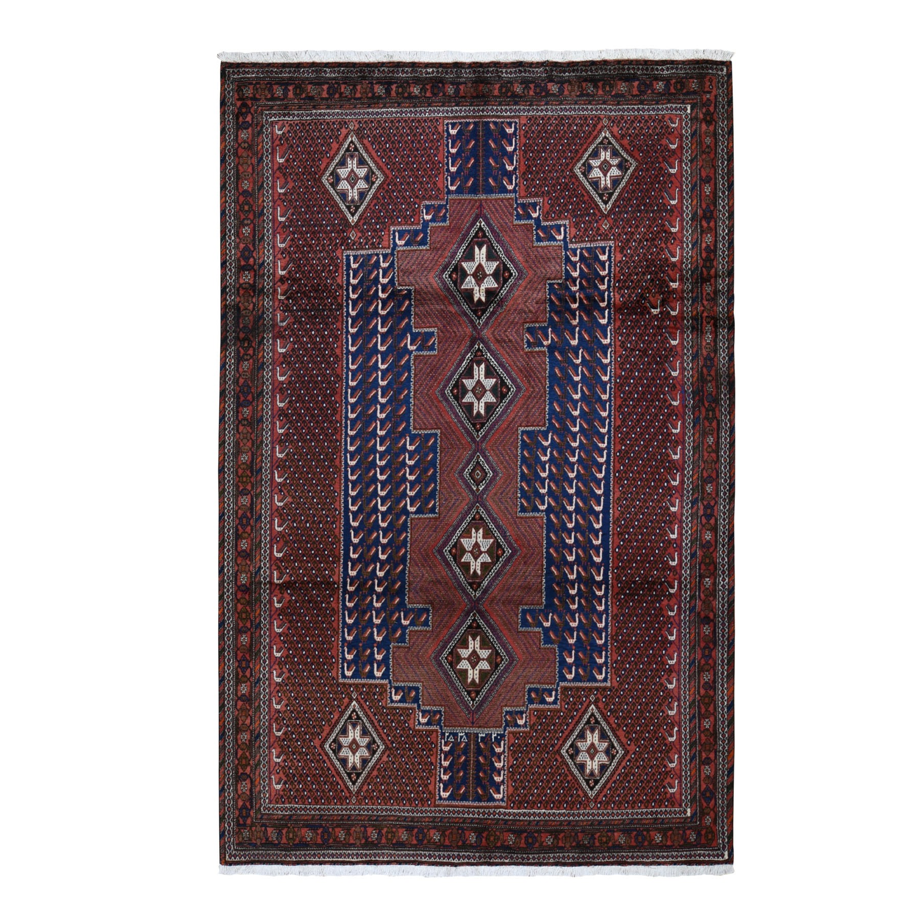 "6'8""x10'5"" Red New Persian Senneh Pure Wool Peacock Design Full Pile Hand Knotted Oriental Rug"