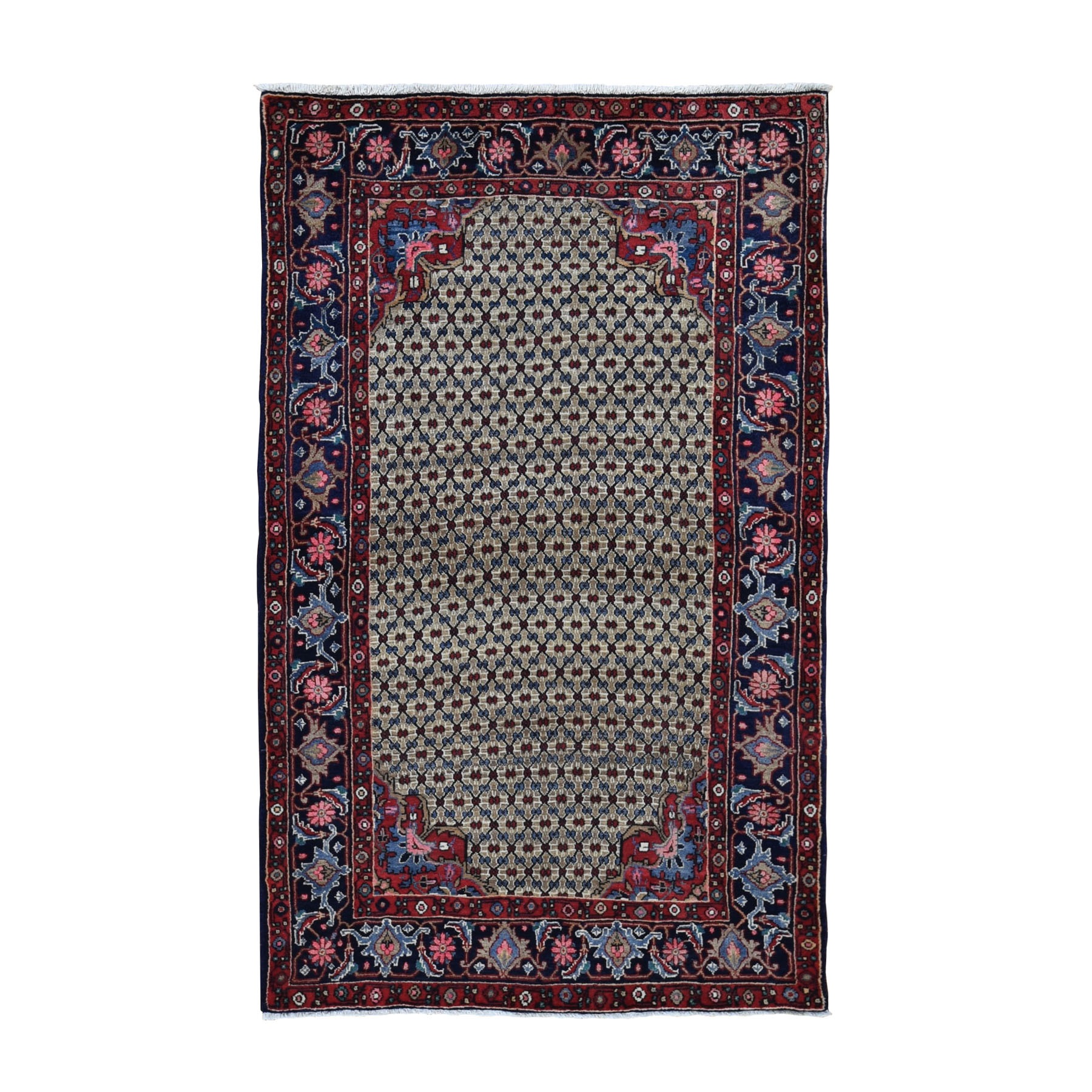 "4'4""X7'9"" Mocha New Persian Serab Camel Hair Full Pile Pure Wool Hand Knotted Oriental Rug moad9790"
