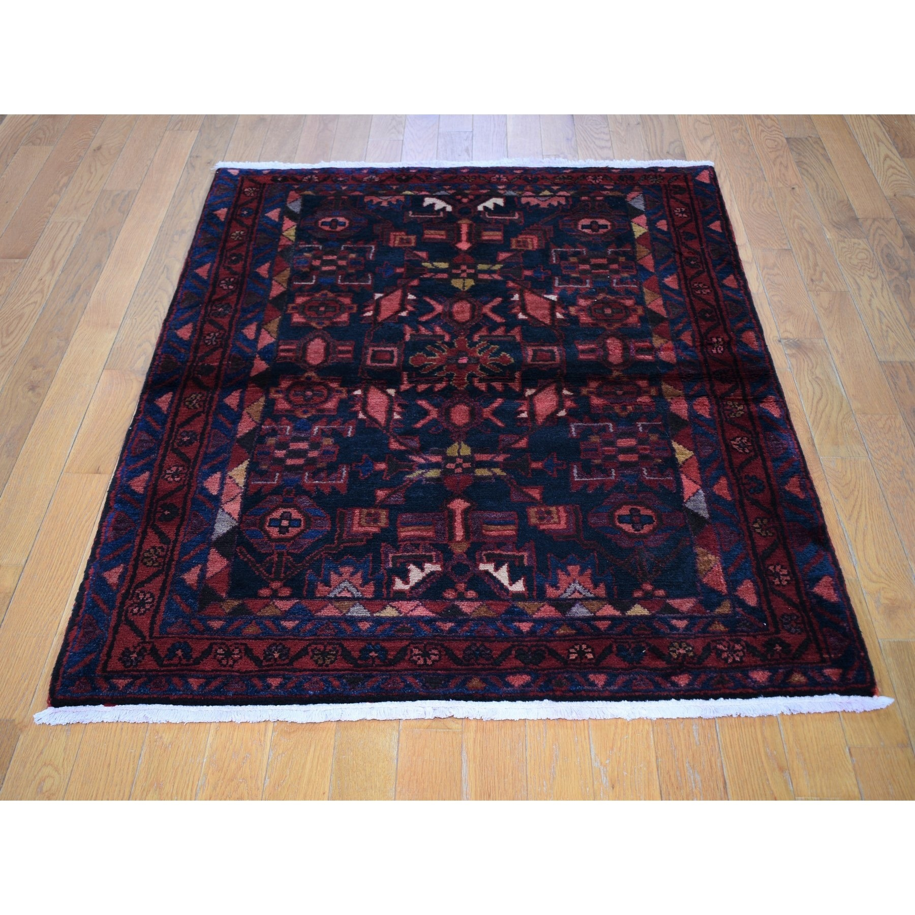 "3'8""x5'1"" Navy Blue Vintage Persian Hamadan Exc Condition Full Pile Pure Wool Hand Knotted Rug"