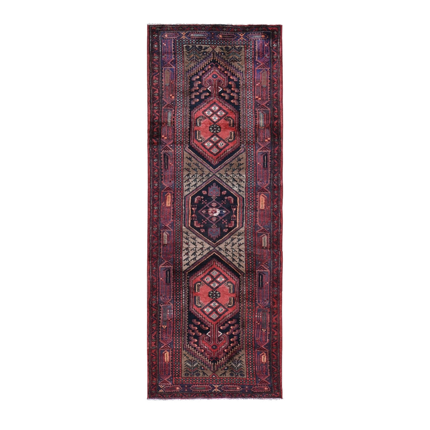 "3'6""X10'3"" Brown Vintage Persian Hamdan Wide Runner Pure Wool Hand Knotted Oriental Rug moad979c"