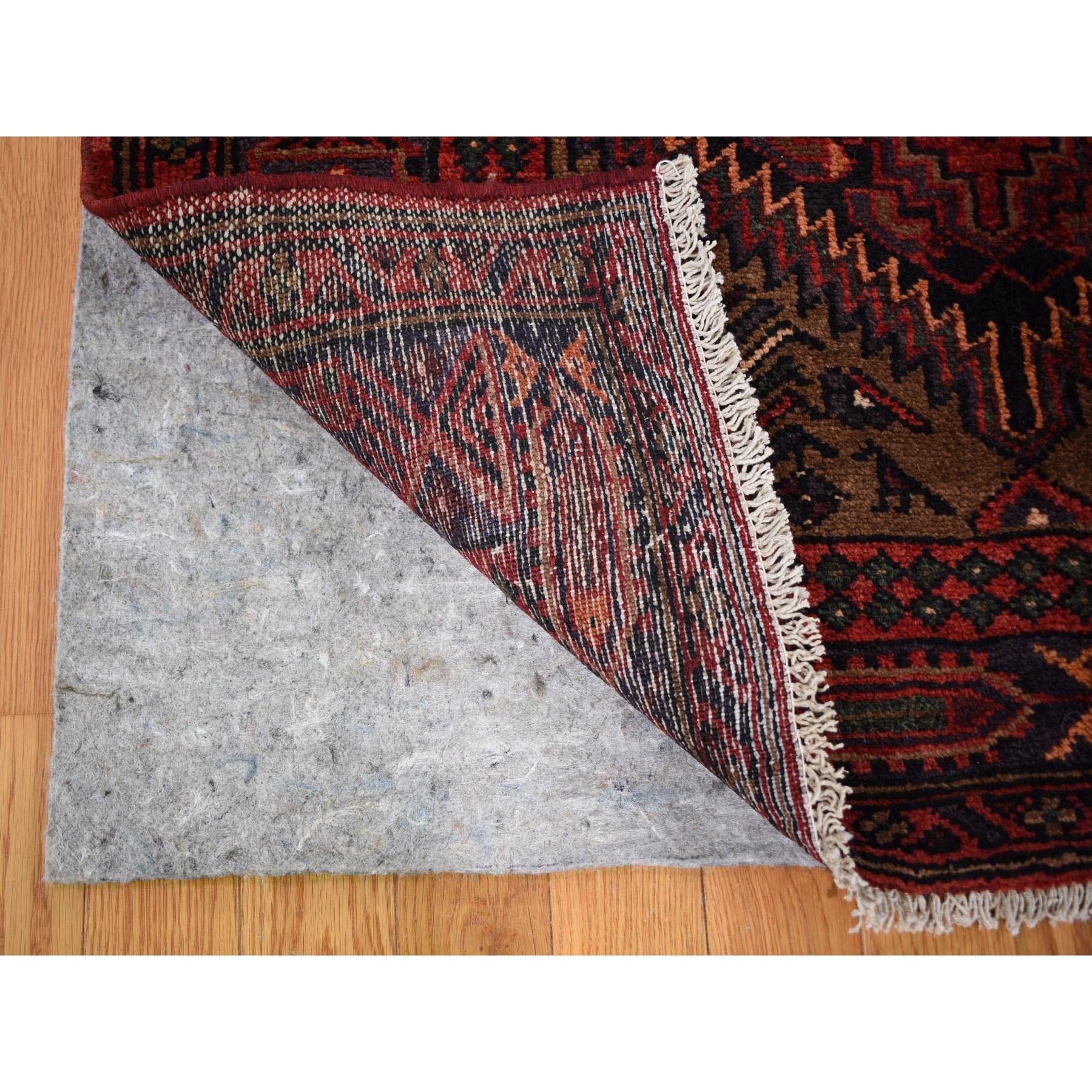 """3'6""""x10'3"""" Brown Vintage Persian Hamdan Wide Runner Pure Wool Hand Knotted Oriental Rug"""