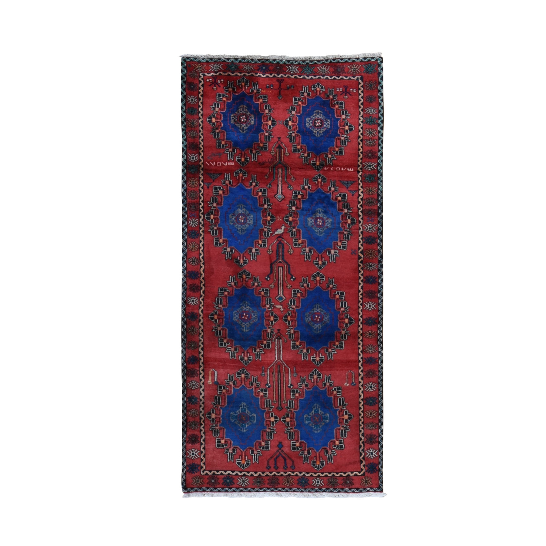 3-8 x8- Red Vintage Persian Malayer Wide Runner With Rosset Design Hand Knotted Rug