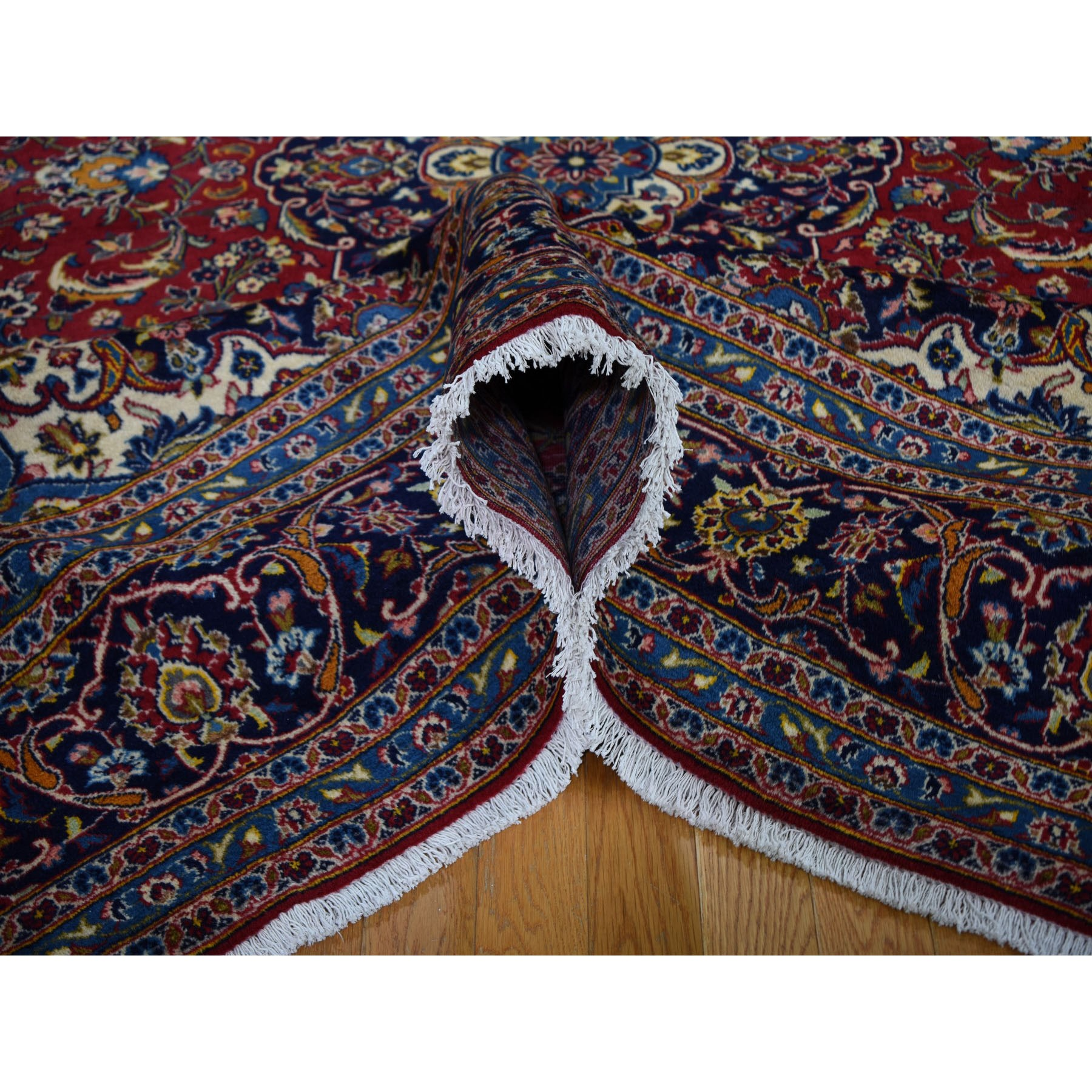8-x11-7  Red Semi Antique Persian Kashan Full Pile Pure Wool Hand Knotted Oriental Rug