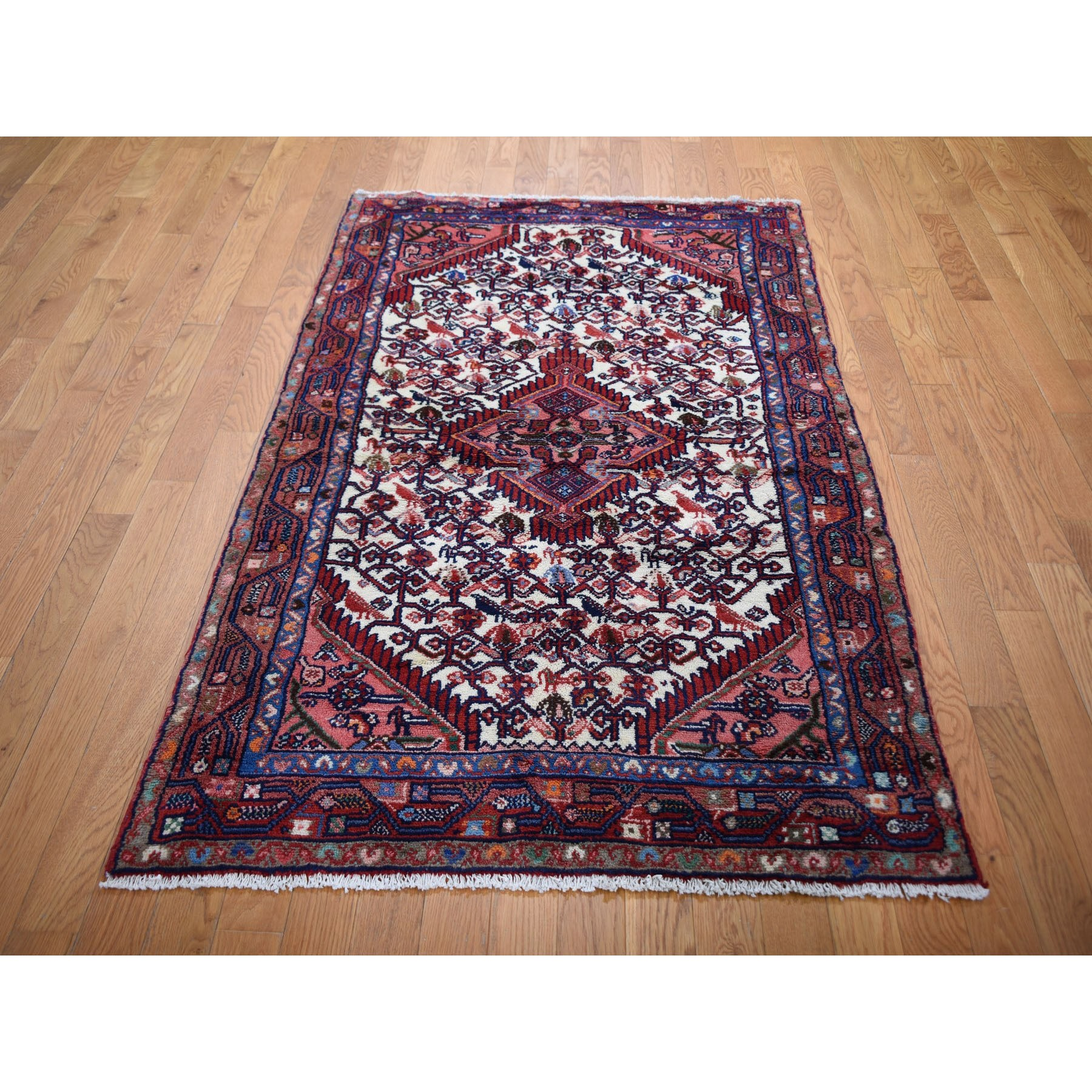 """3'7""""x6'6"""" Ivory Vintage Persian Hamadan With Birds Pure Wool Hand Knotted Oriental Rug"""