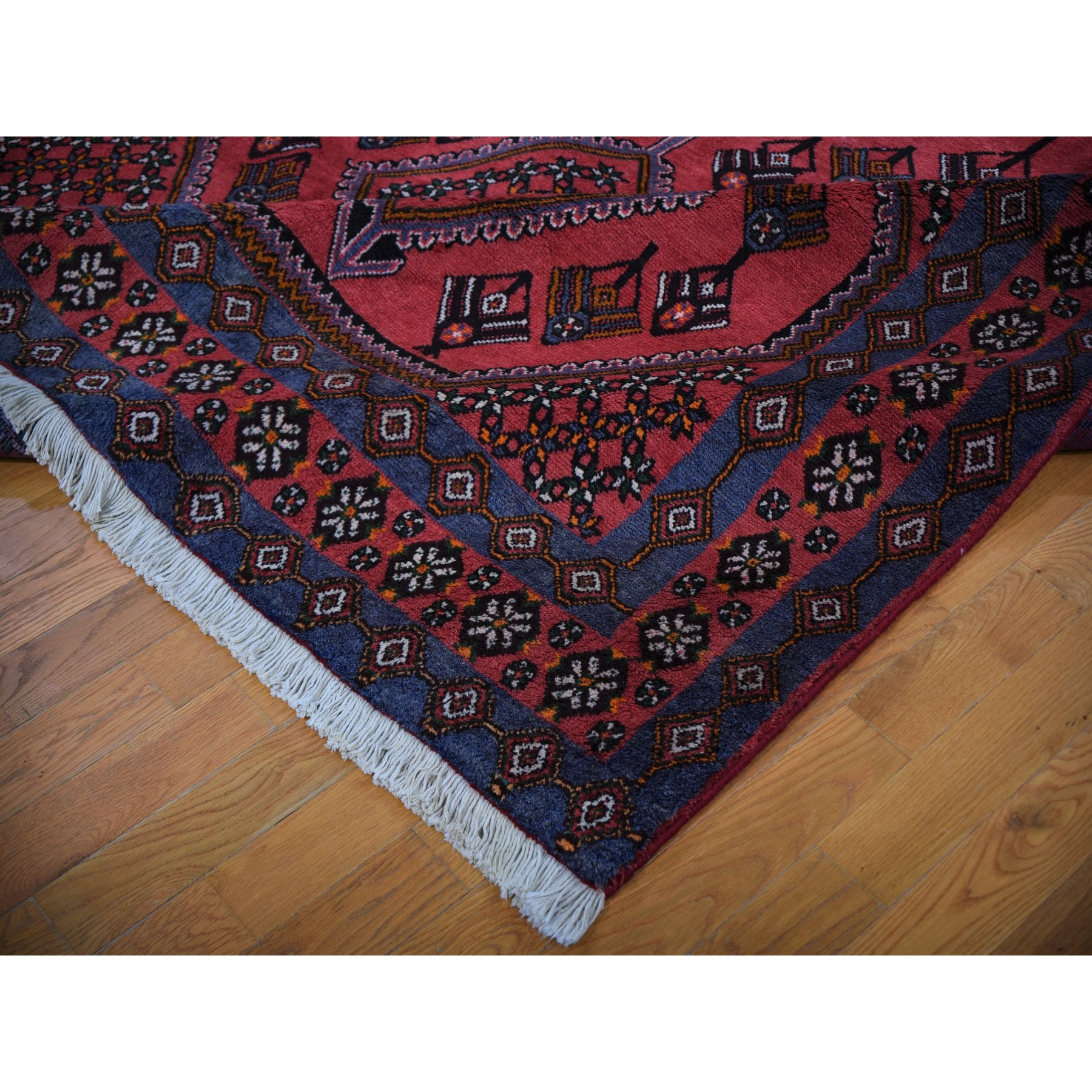 """8'x11'3"""" Red New Persian Hamadan Serrated leaf Design Pure Wool Hand Knotted Rug"""